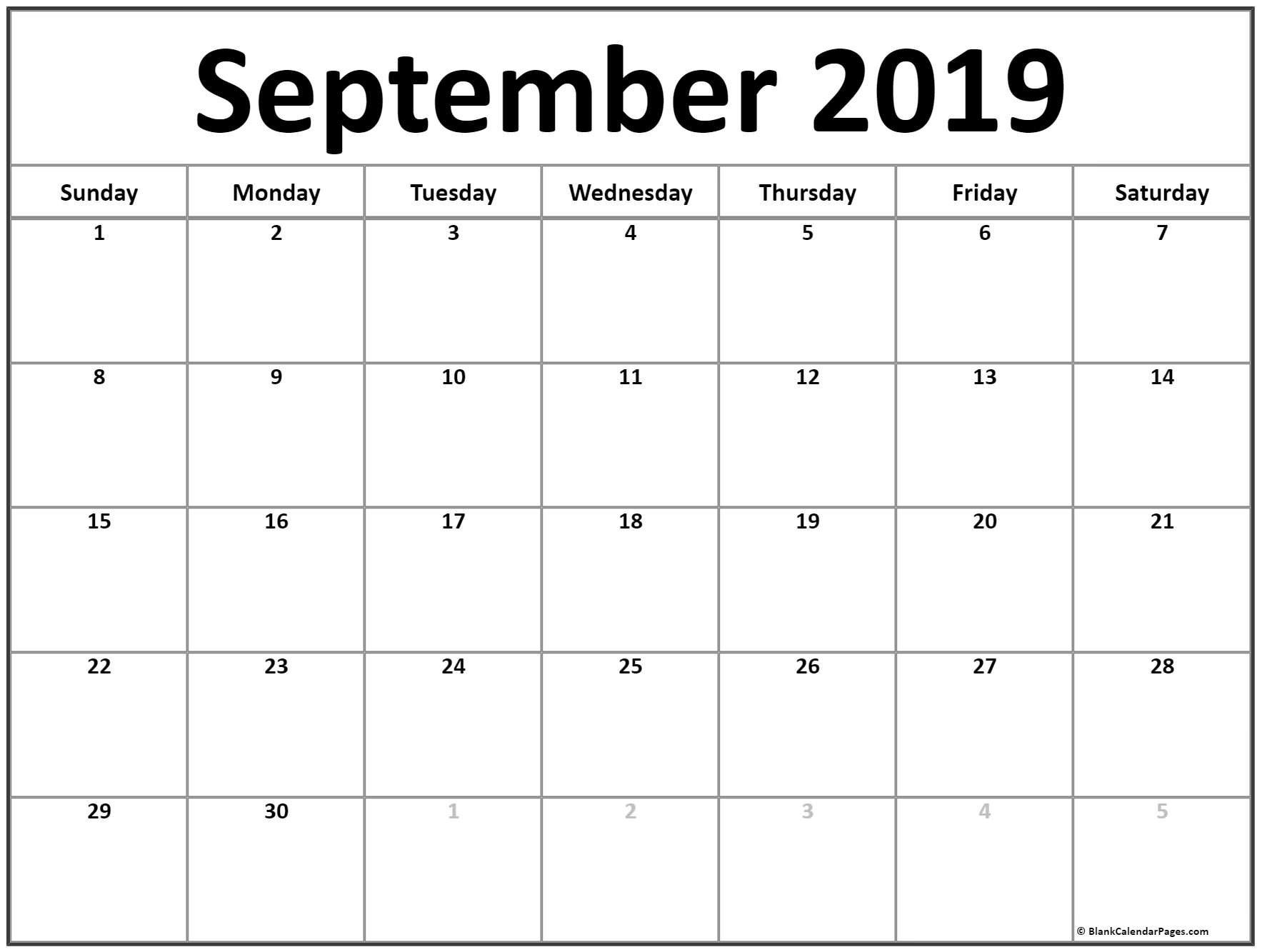 September 2019 Calendar | 56+ Templates Of 2019 Printable Calendars Calendar Of 2019 September