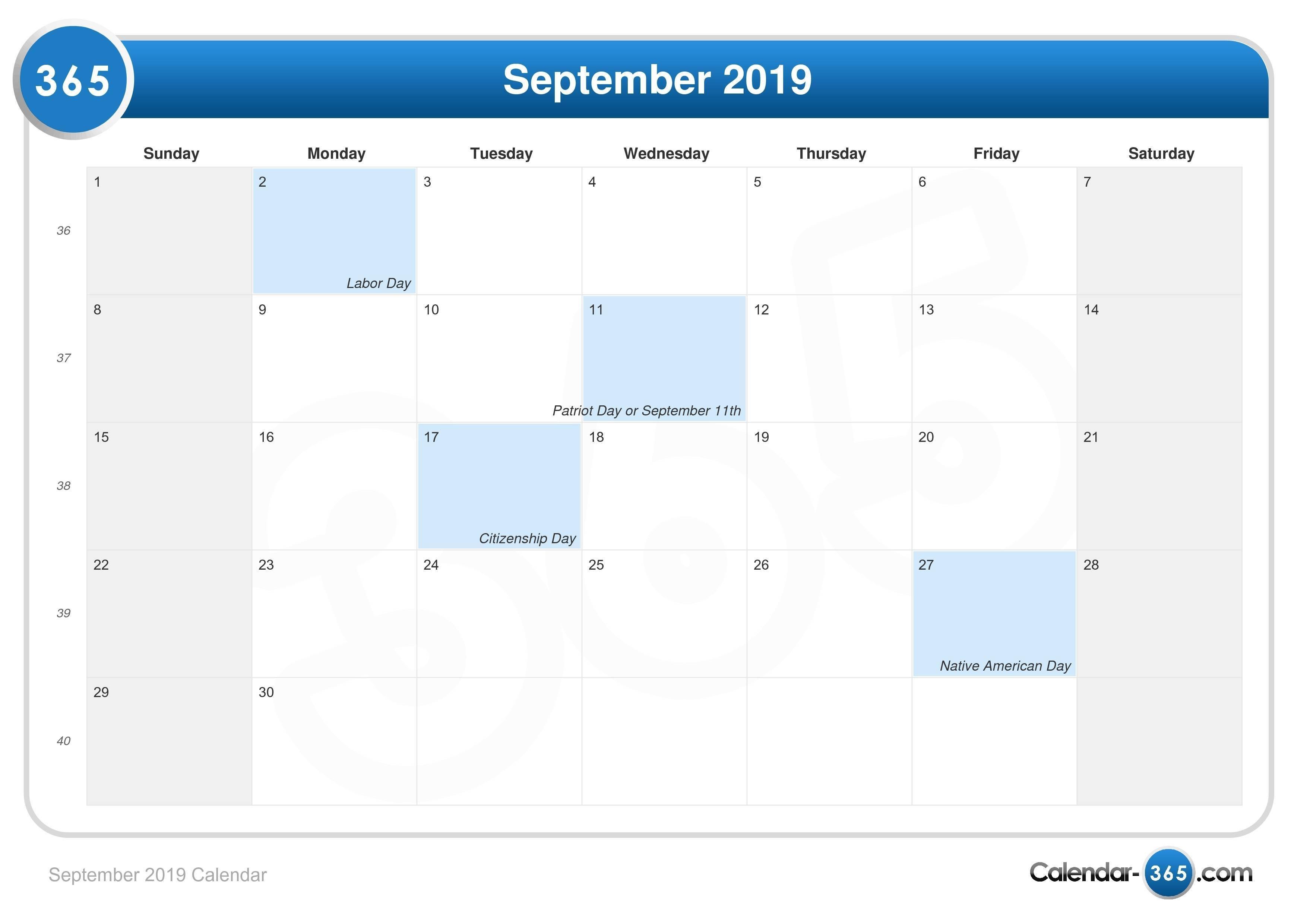 September 2019 Calendar Calendar Of 2019 September