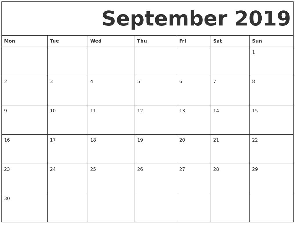 September 2019 Free Printable Calendar Calendar Of 2019 September