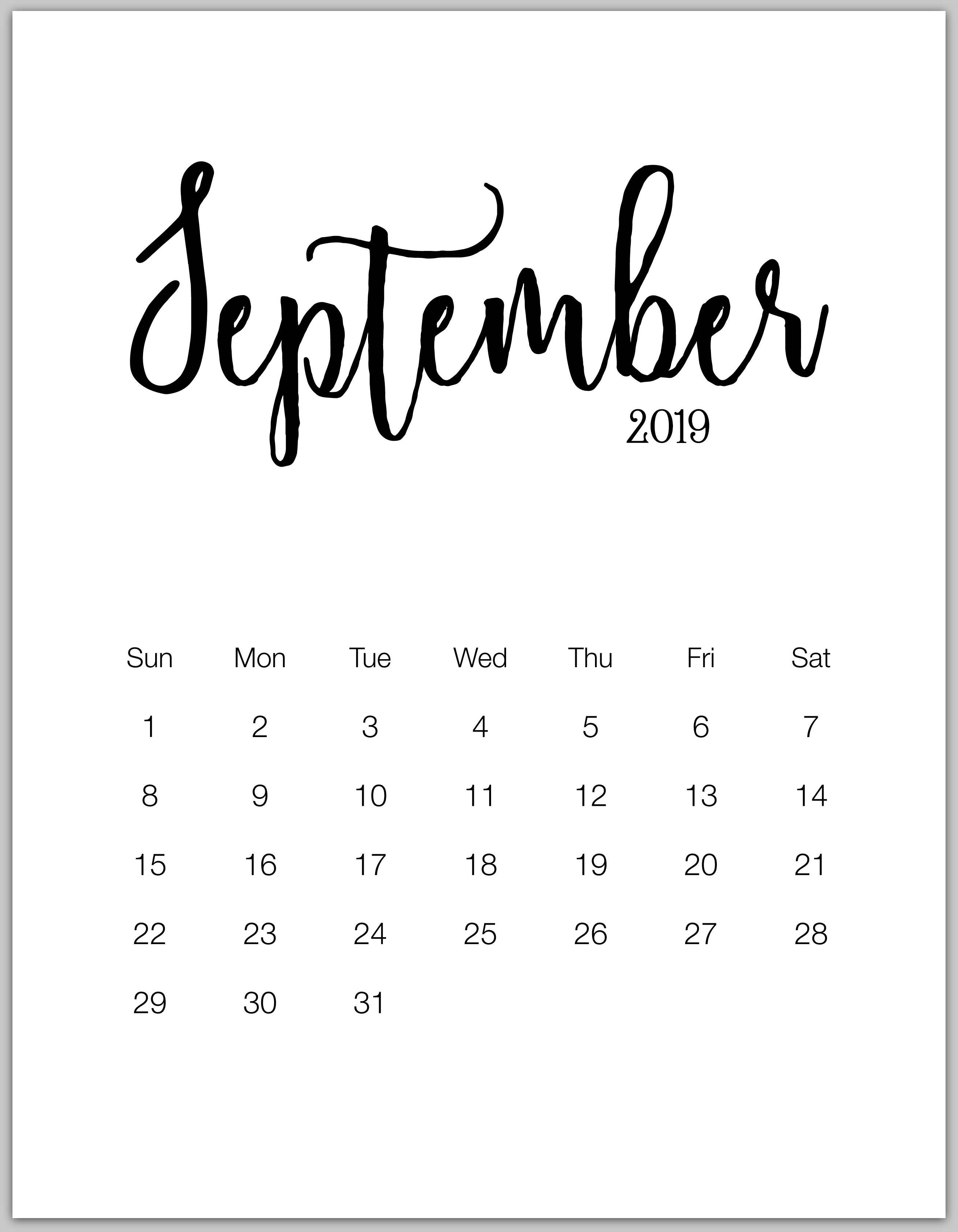 September 2019 Minimalist Calendar   Hello♥Kitty's Diy   Pinterest September 7 2019 Calendar