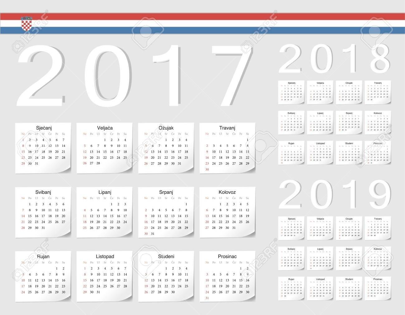 Set Of Croatian 2017, 2018, 2019 Vector Calendars With Shadow Calendar 2019 Ut