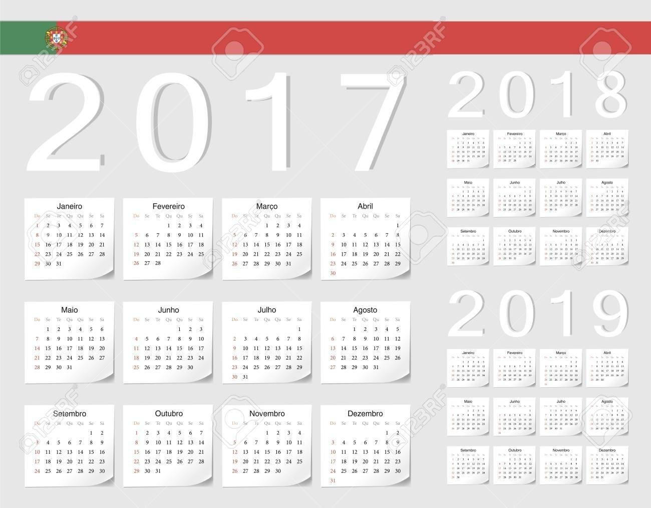 Set Of Portuguese 2017, 2018, 2019 Vector Calendars With Shadow Calendar 2019 Qu