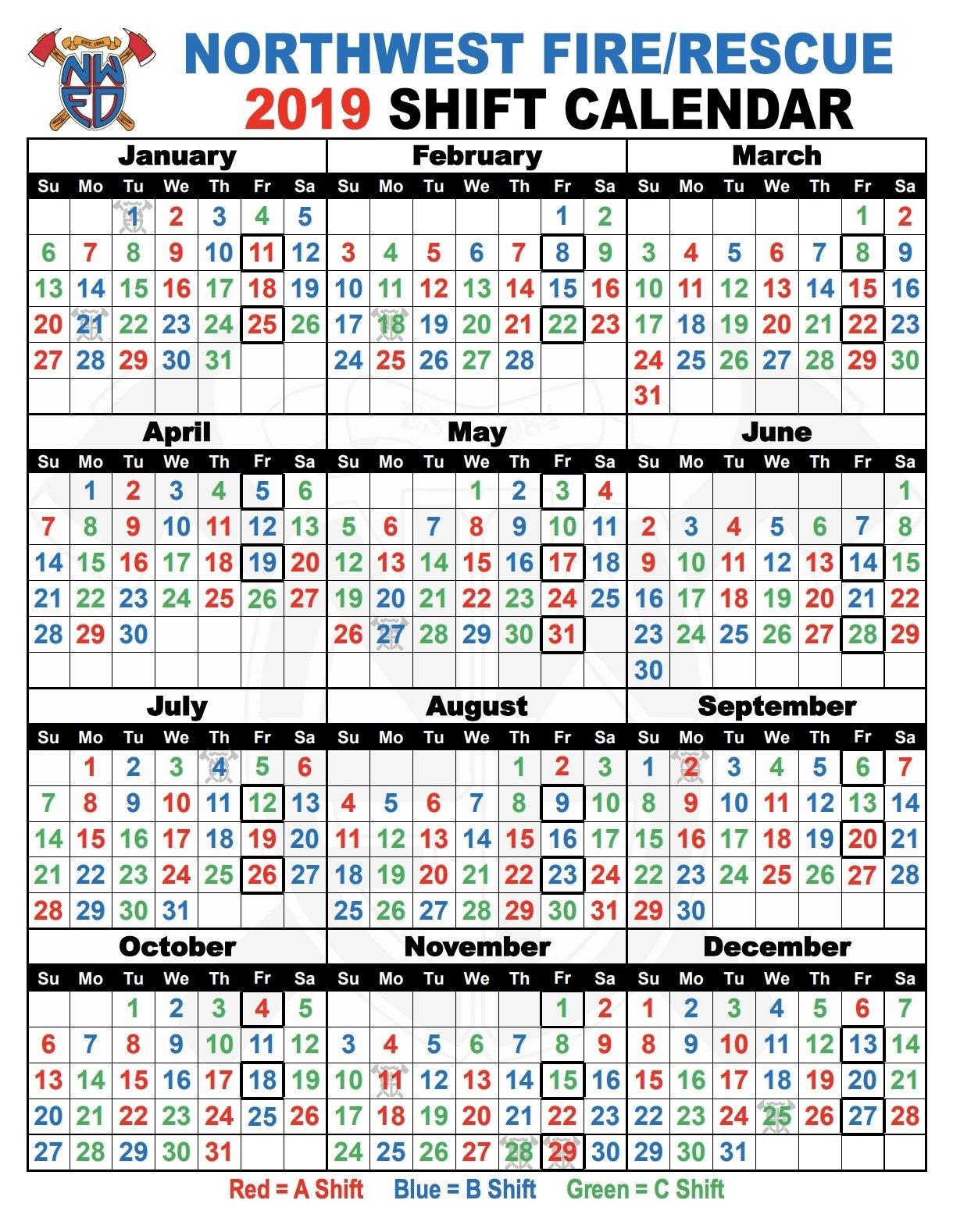 Shift Schedules | Northwest Fire District 3 Shift Calendar 2019
