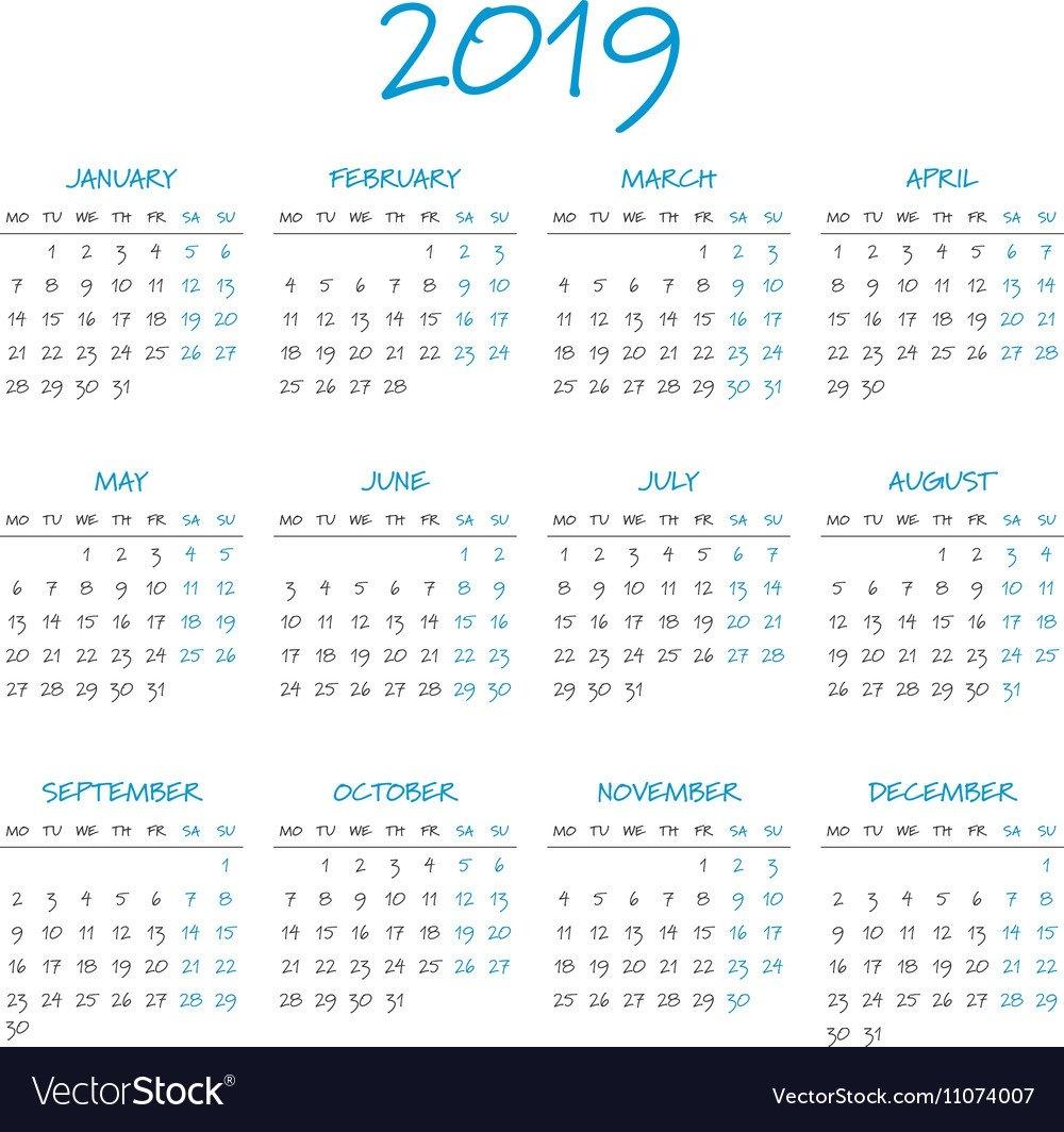 Simple 2019 Year Calendar Royalty Free Vector Image Calendar 2019 Eps
