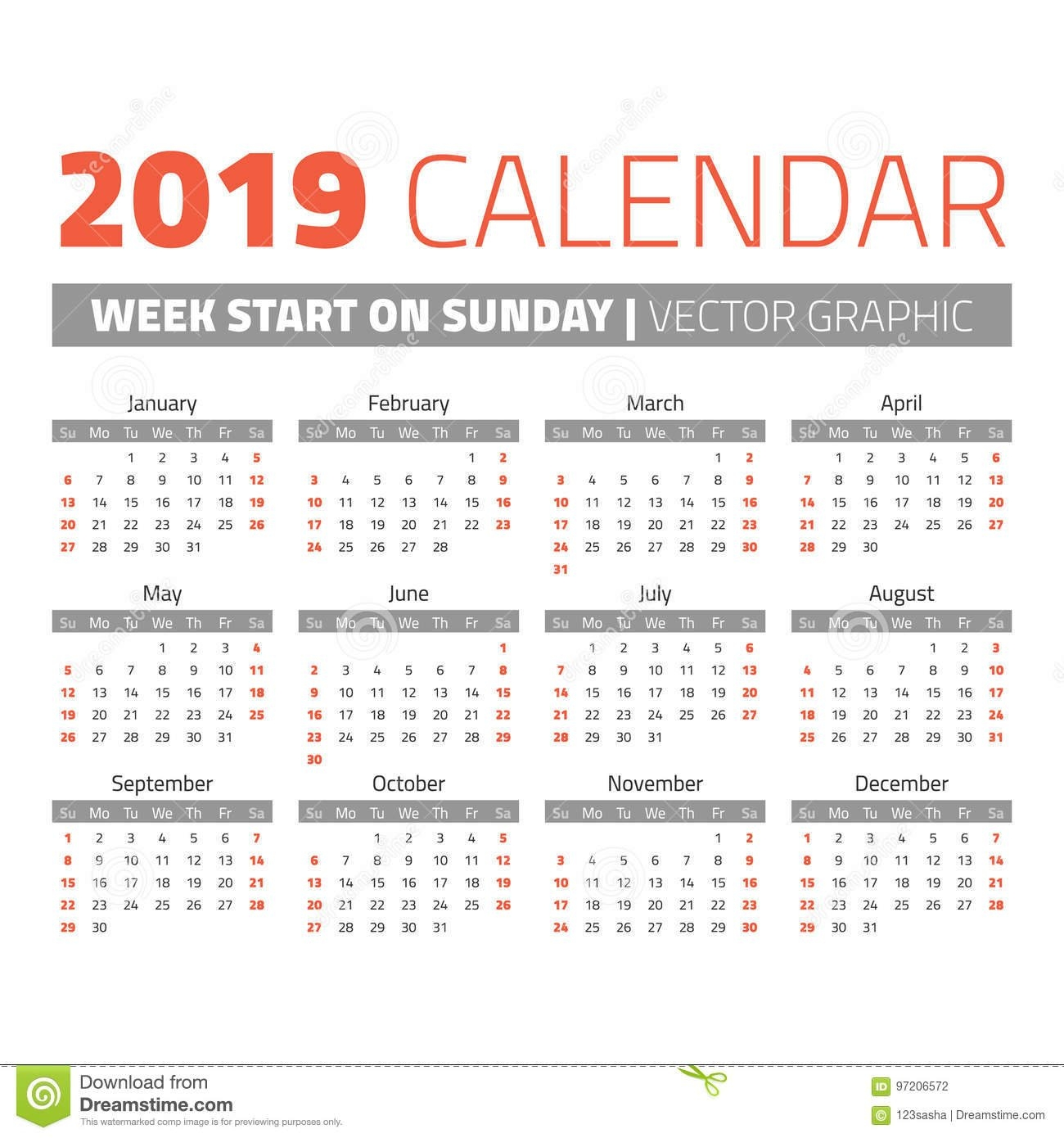 Simple 2019 Year Calendar Stock Vector. Illustration Of Date – 97206572 Calendar Week 8 2019