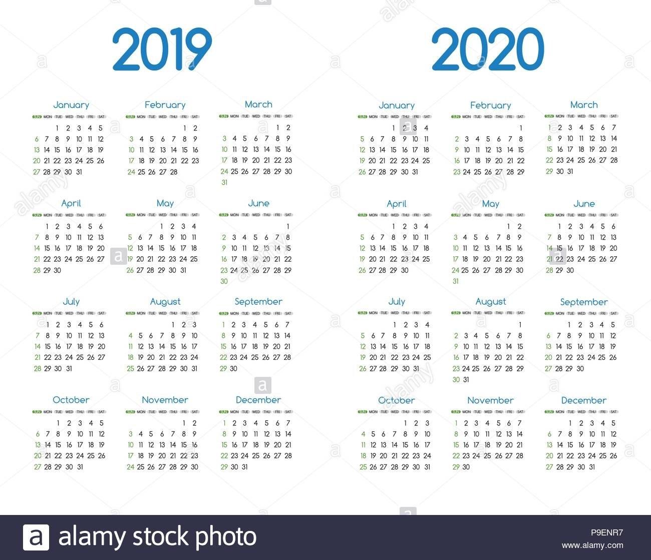 Simple 2020 Year Calendar Stockfotos & Simple 2020 Year Calendar Calendar 2019 Neu
