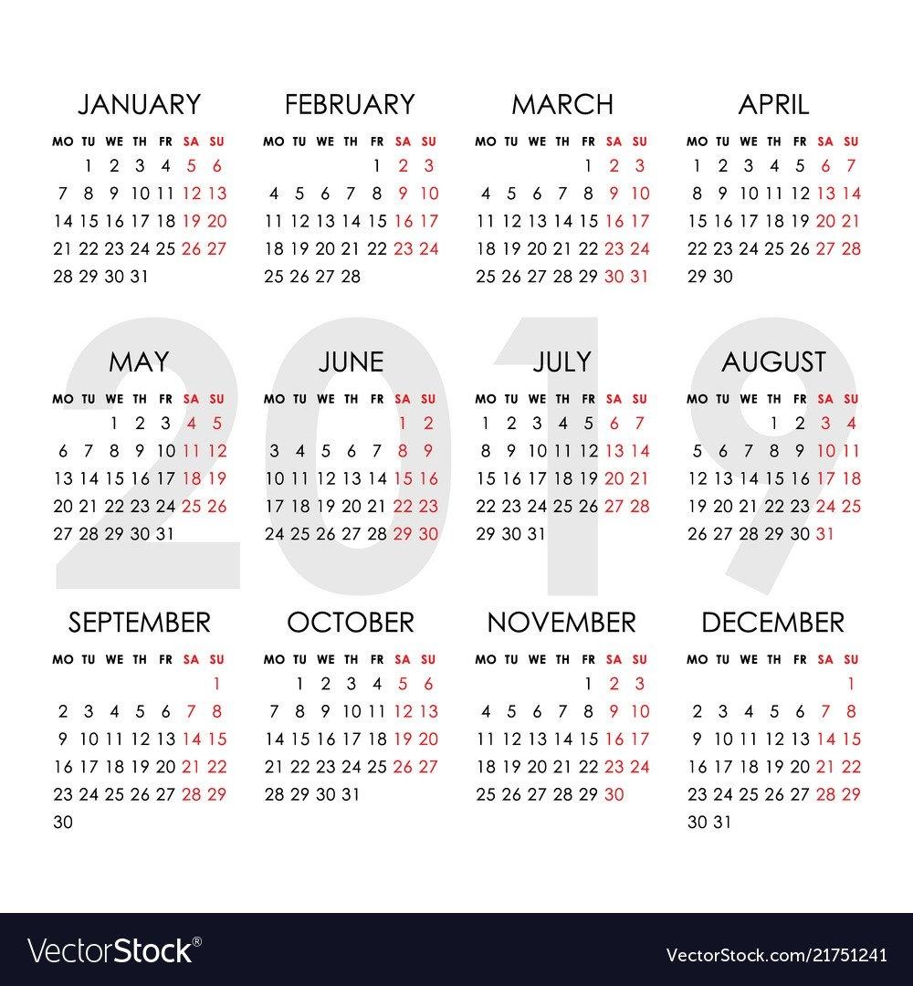 Simple Calendar For 2019 Year Week Starts Monday Vector Image Calendar Week 8 2019