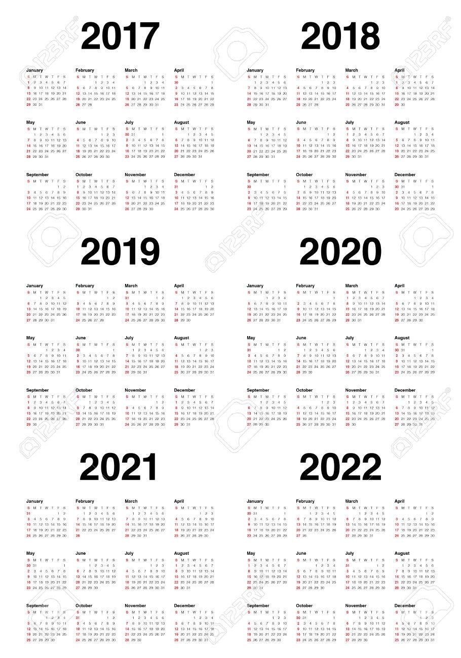 Simple Calendar Template For 2017, 2018, 2019, 2020, 2021 And 3 Year Calendar 2019 To 2021