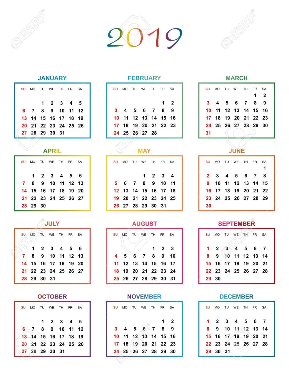Simple Color Calendar For The Year 2019. The Names Of Days And Calendar 2019 Days