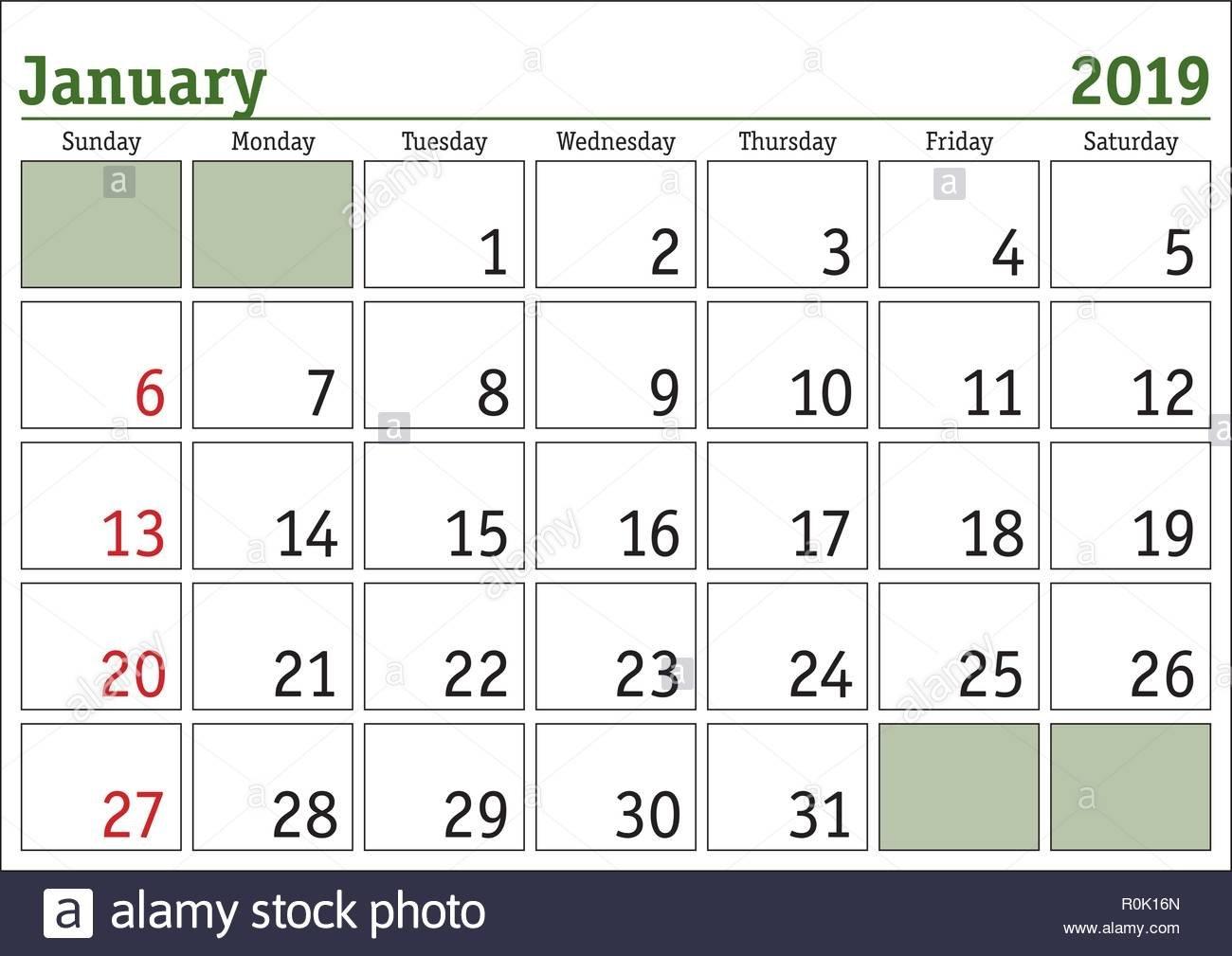 Simple Digital Calendar For January 2019. Vector Printable Calendar Calendar 2019 Digital