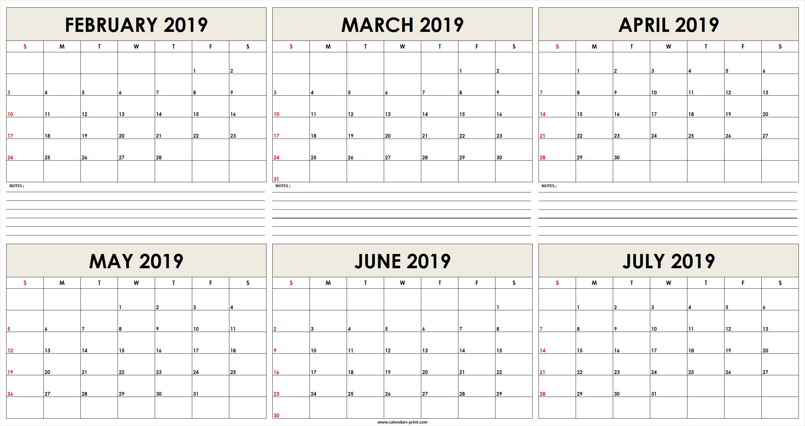 Six Monthly February 2019 To July 2019 Calendar Template   Editable Feb 6 2019 Calendar
