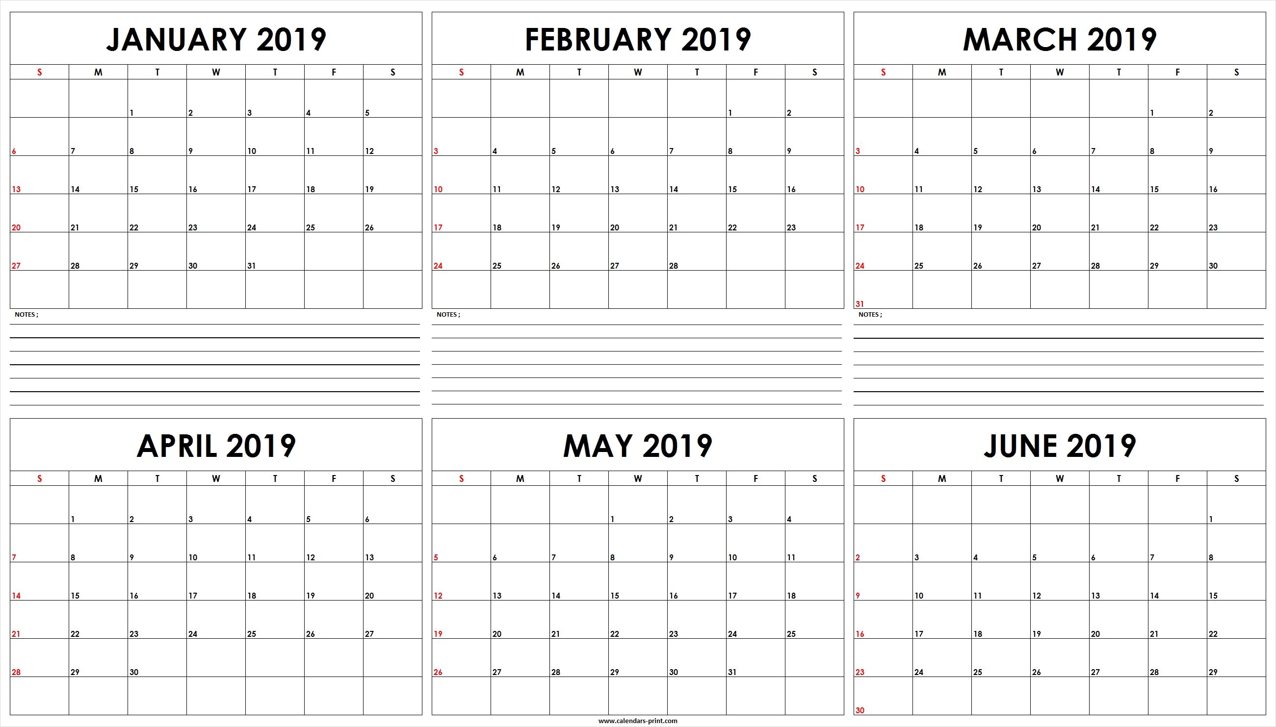 Six Monthly January 2019 To June 2019 Calendar Template   Editable May 6 2019 Calendar