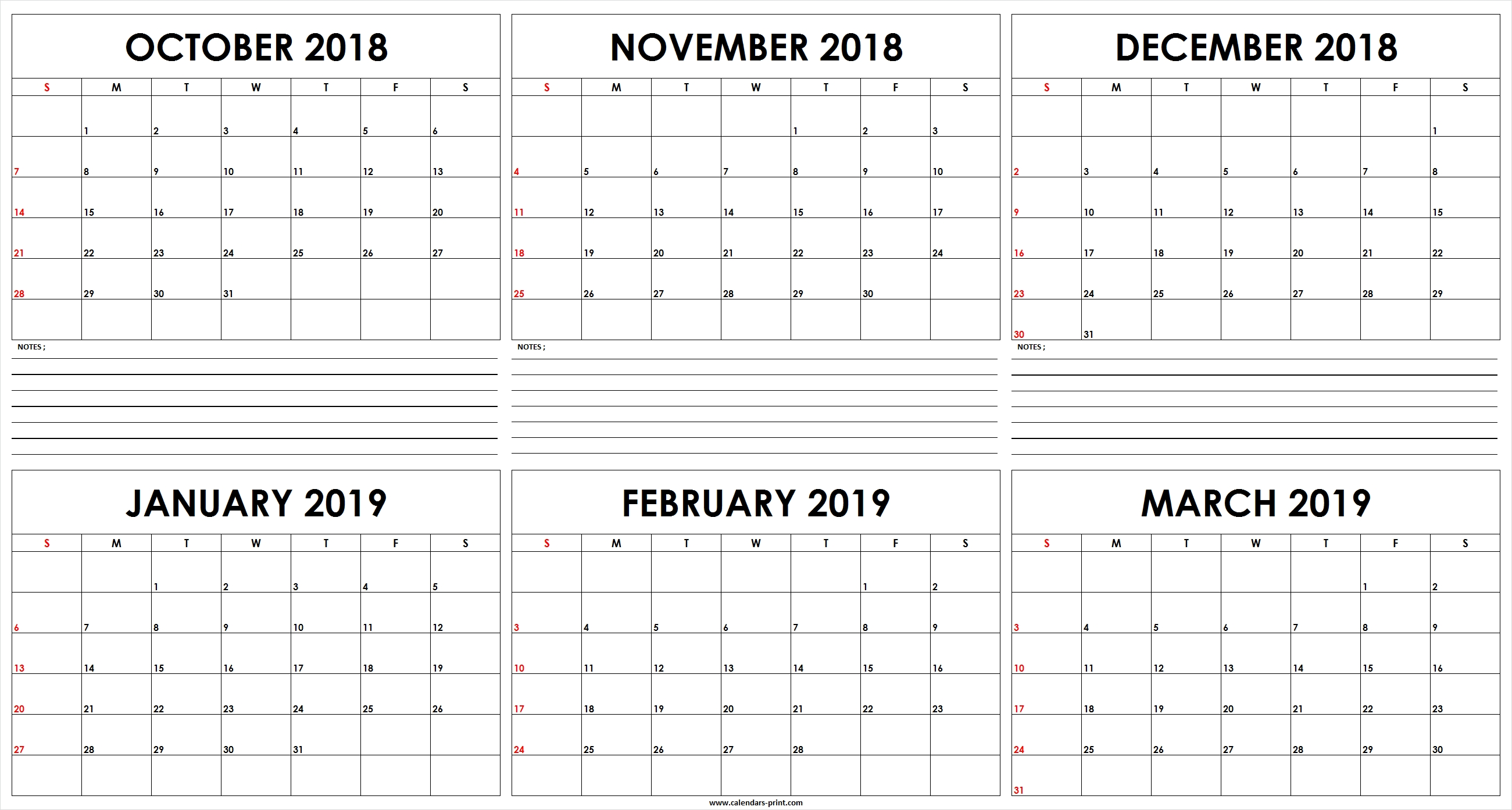 Six Monthly October 2018 To March 2019 Calendar Template   Editable March 6 2019 Calendar