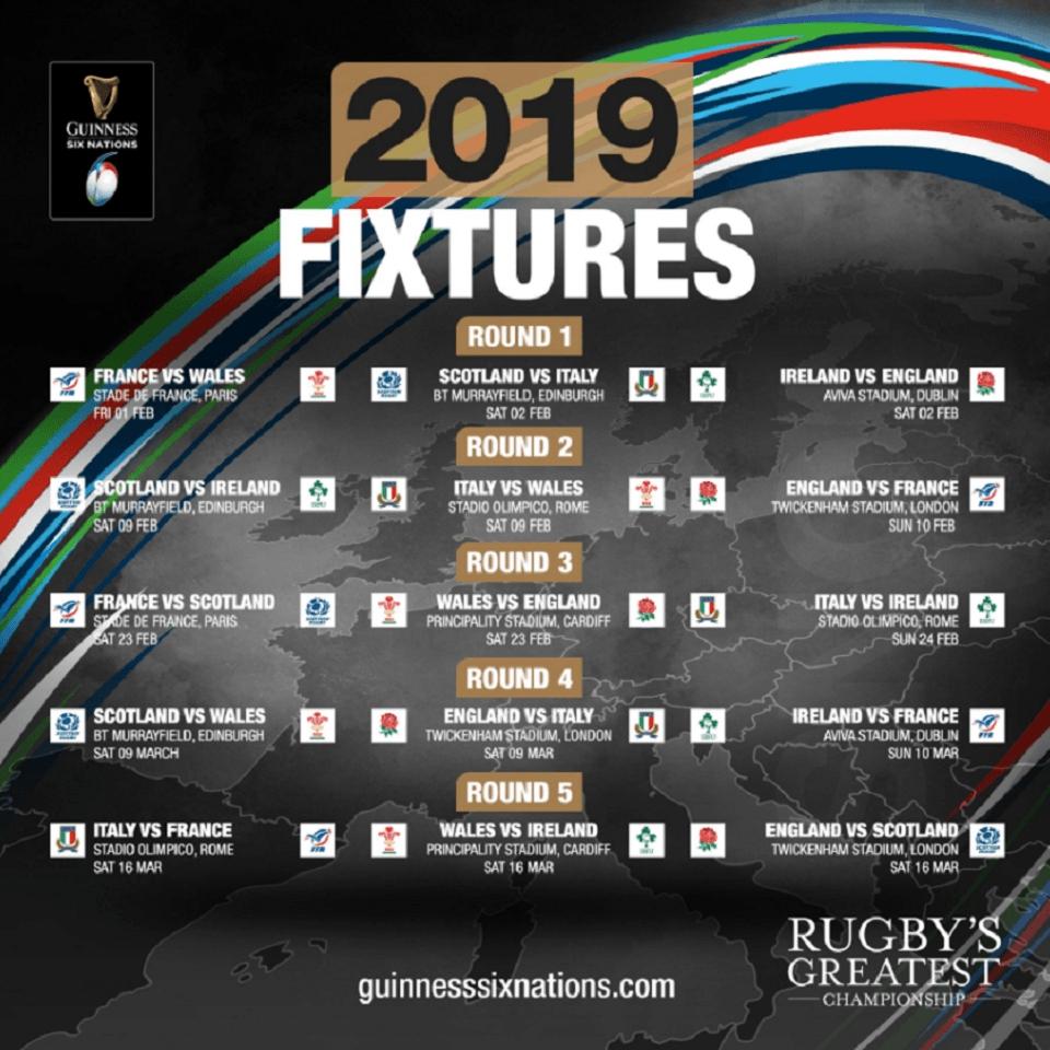 Six Nations Fixtures 960X960   Haven Restaurant 6 Nations Calendar 2019