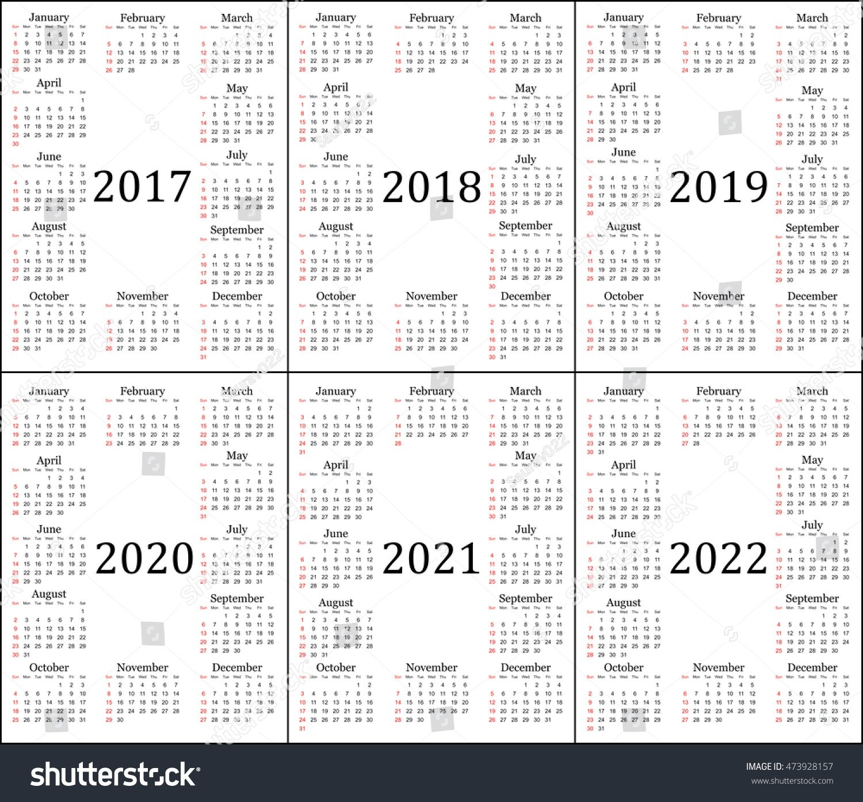 Six Year Calendar 2017 2018 2019 Stock Vector (Royalty Free 5 Year Calendar 2019 To 2023