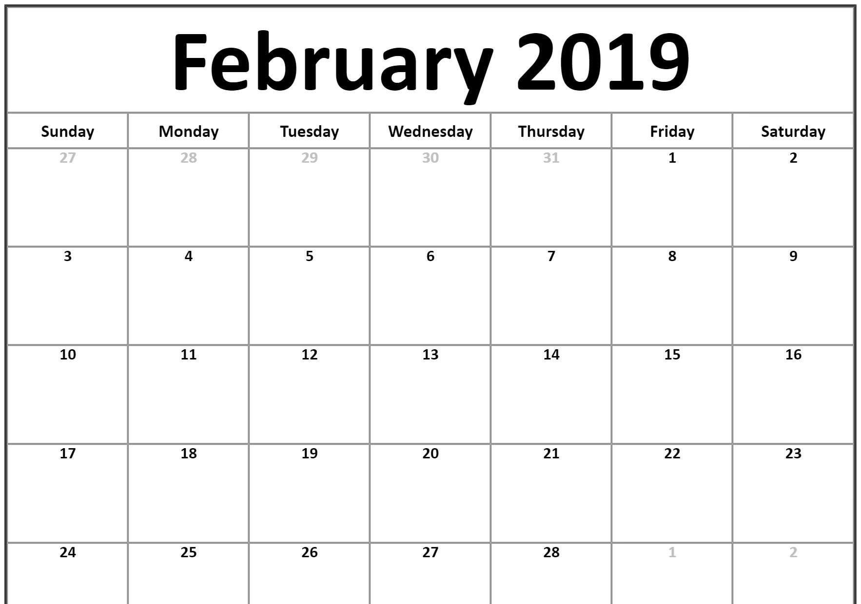 Small 2019 February Printable Calendar #landscape | February 2019 Calendar 2019 February Printable