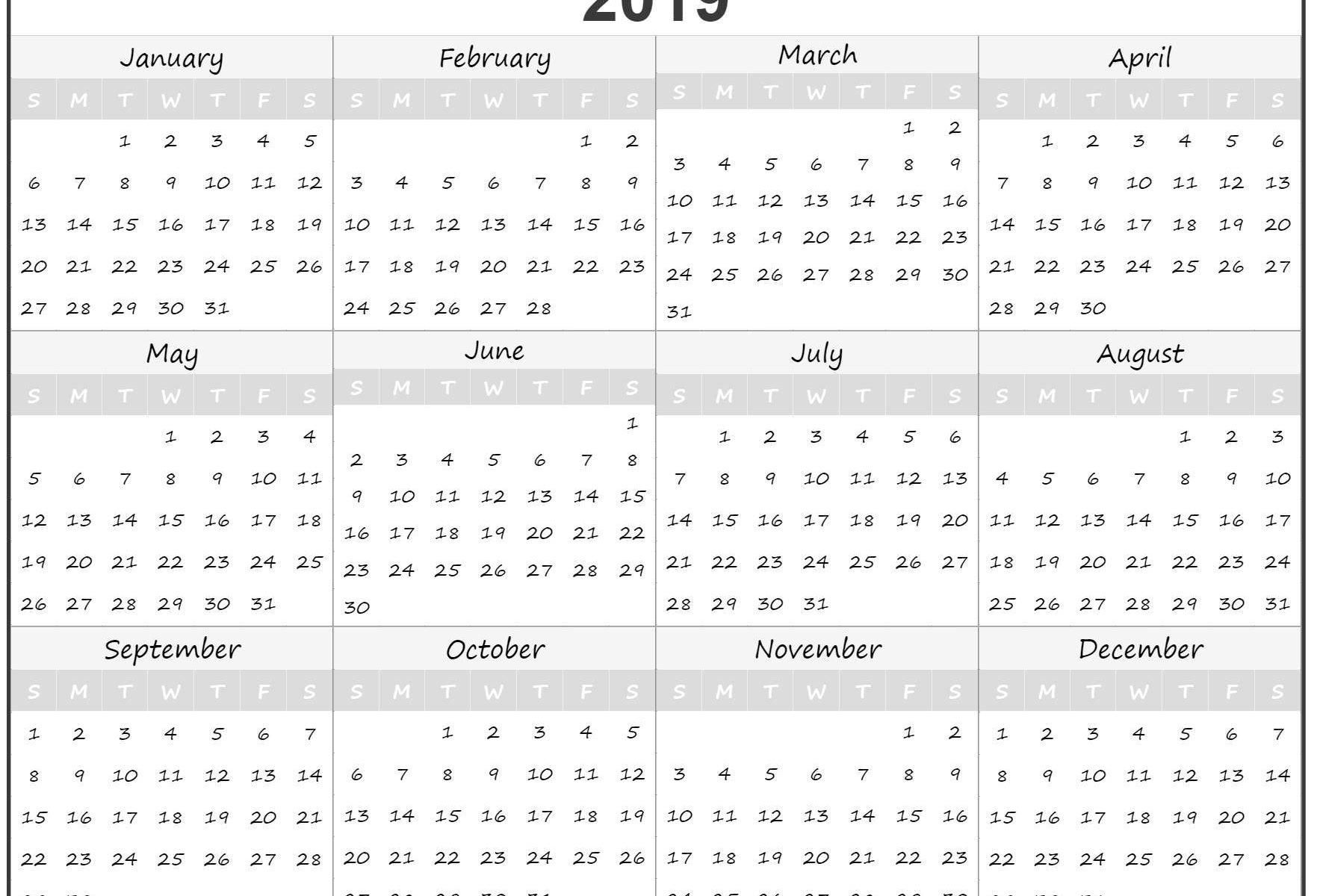 Small Yearly Calendar 2019 Printable | Printable Paper Sheets Calendar 2019 Small Printable