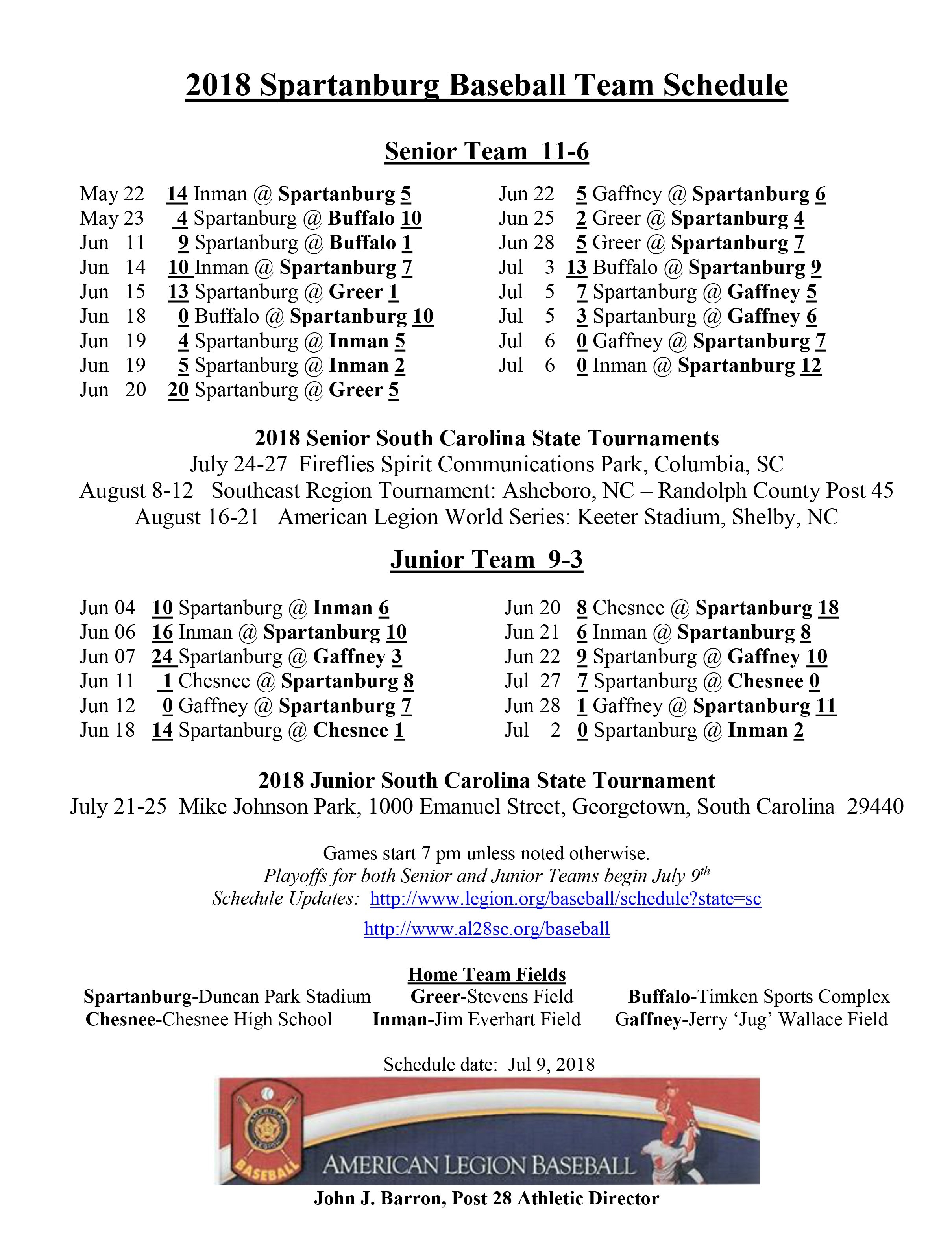 Spartanburg American Legion Post 28 – Baseball Spartanburg District 6 2019 Calendar