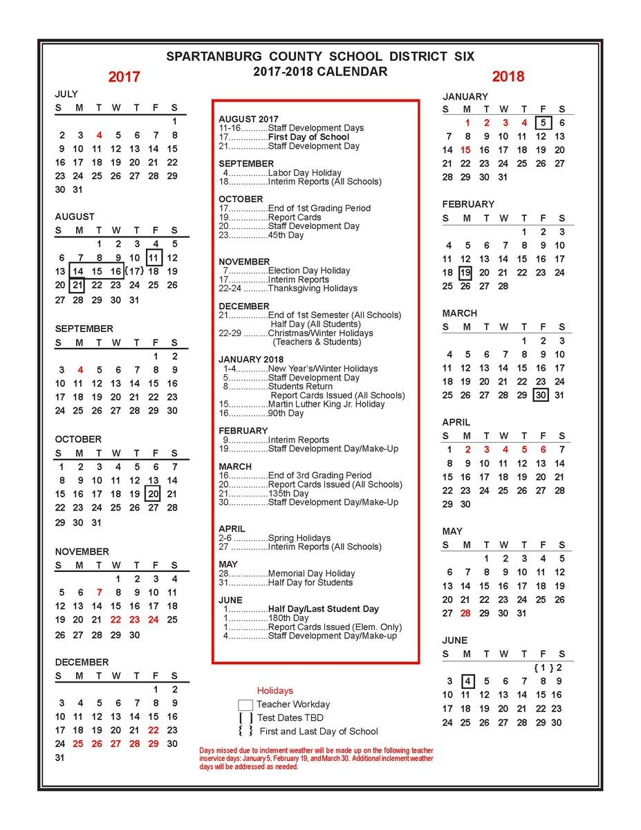 """Spartanburg Dist Six On Twitter: """"the 2017 2018 District Six Spartanburg District 6 2019 Calendar"""