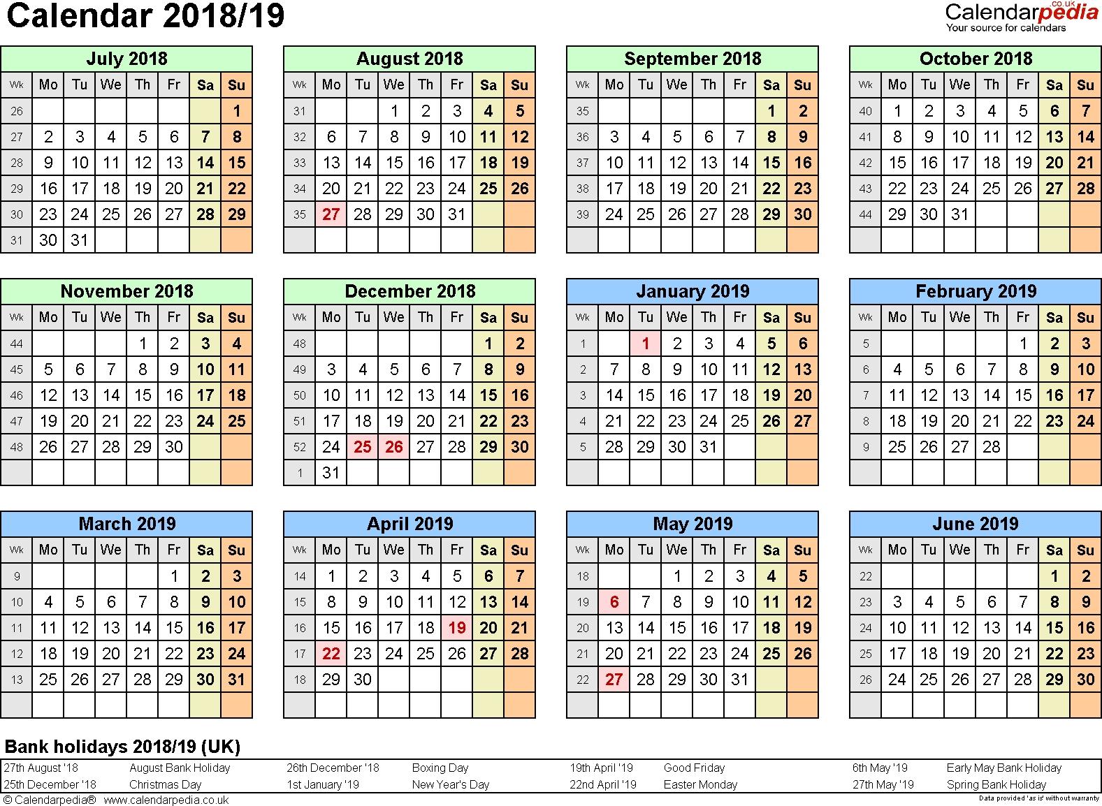 Split Year Calendars 2018/19 (July To June) For Pdf (Uk Version) Calendar 2019 Romania Pdf