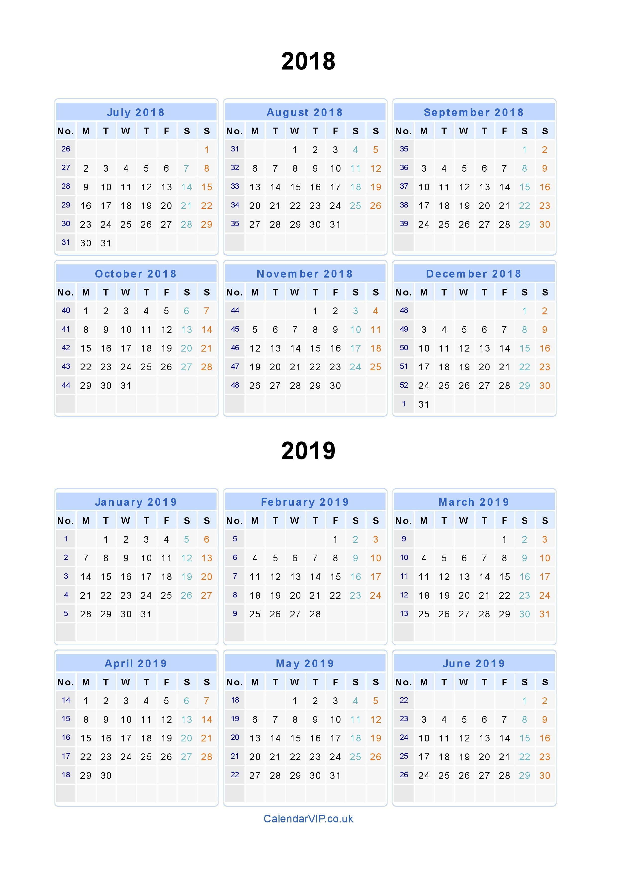 Split Year Calendars 2018 2019 – Calendar From July 2018 To June 2019 2019 Calendar 4 5 4