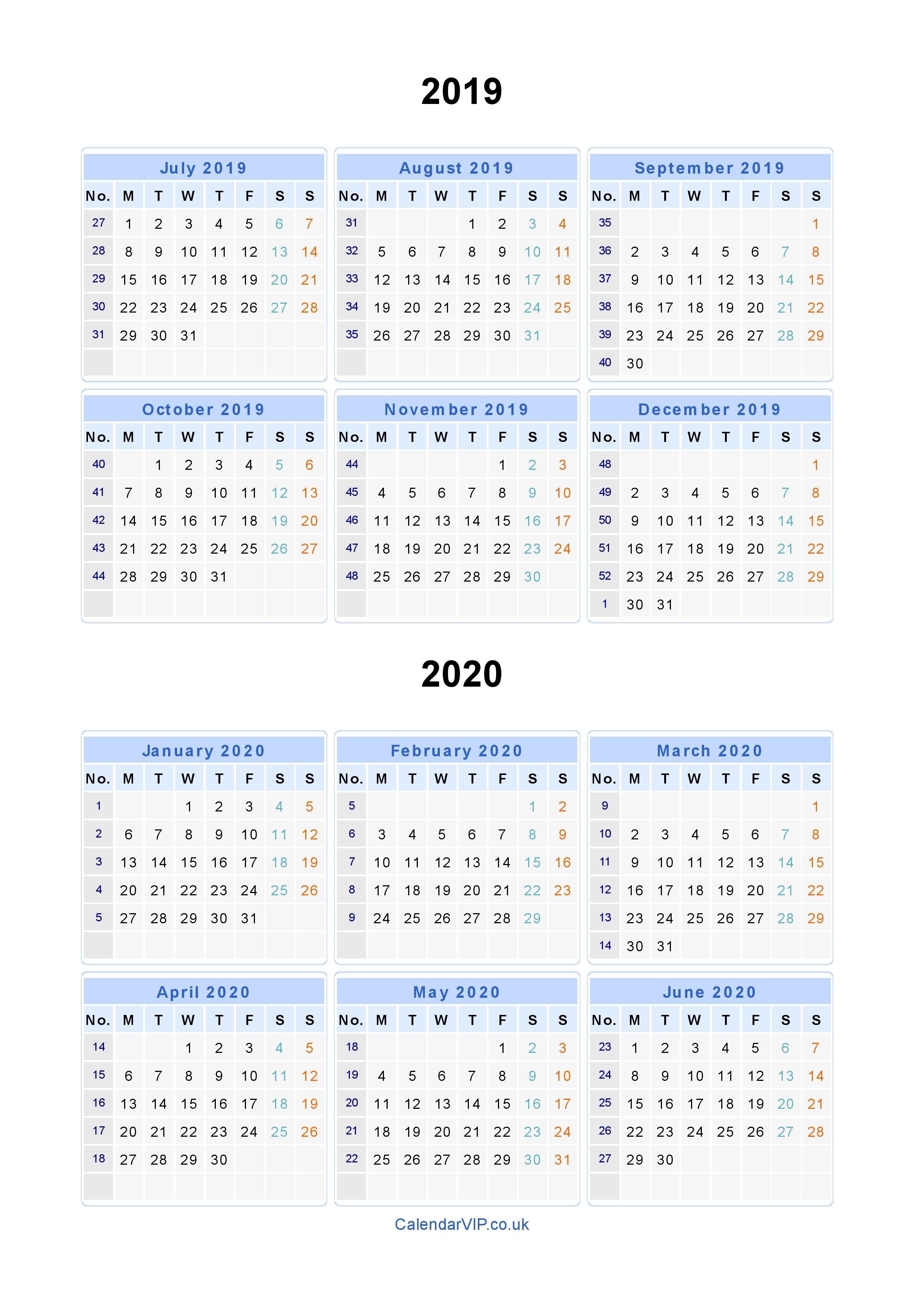 Split Year Calendars 2019 2020 – Calendar From July 2019 To June 2020 Calendar 2019 To 2020