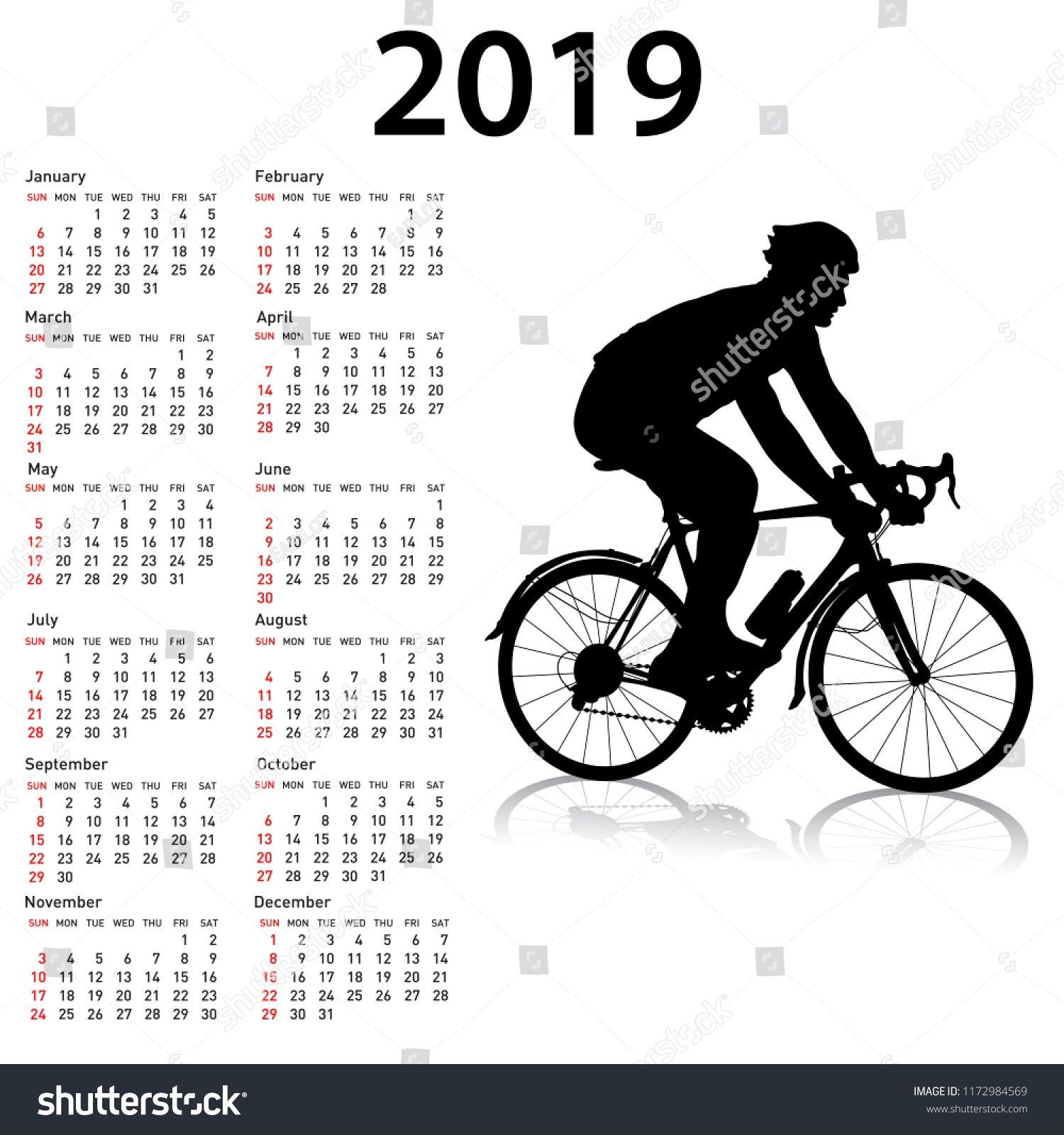 Sports Calendar 2019 Week Starts Sunday Stock Illustration 4 Week Period Calendar 2019