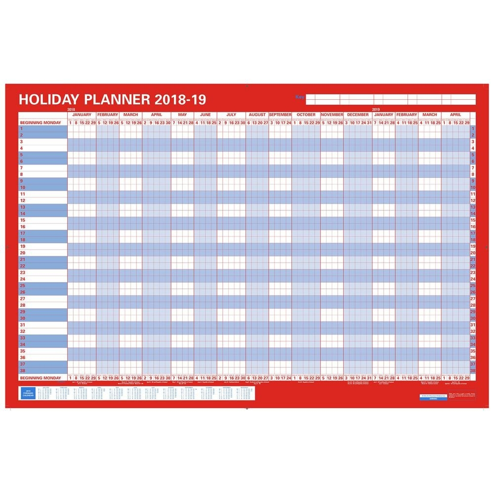 Staples 2018 16 Month Holiday Planner, Mounted, 850 X 610 Mm | Staples® Calendar 2019 Staples