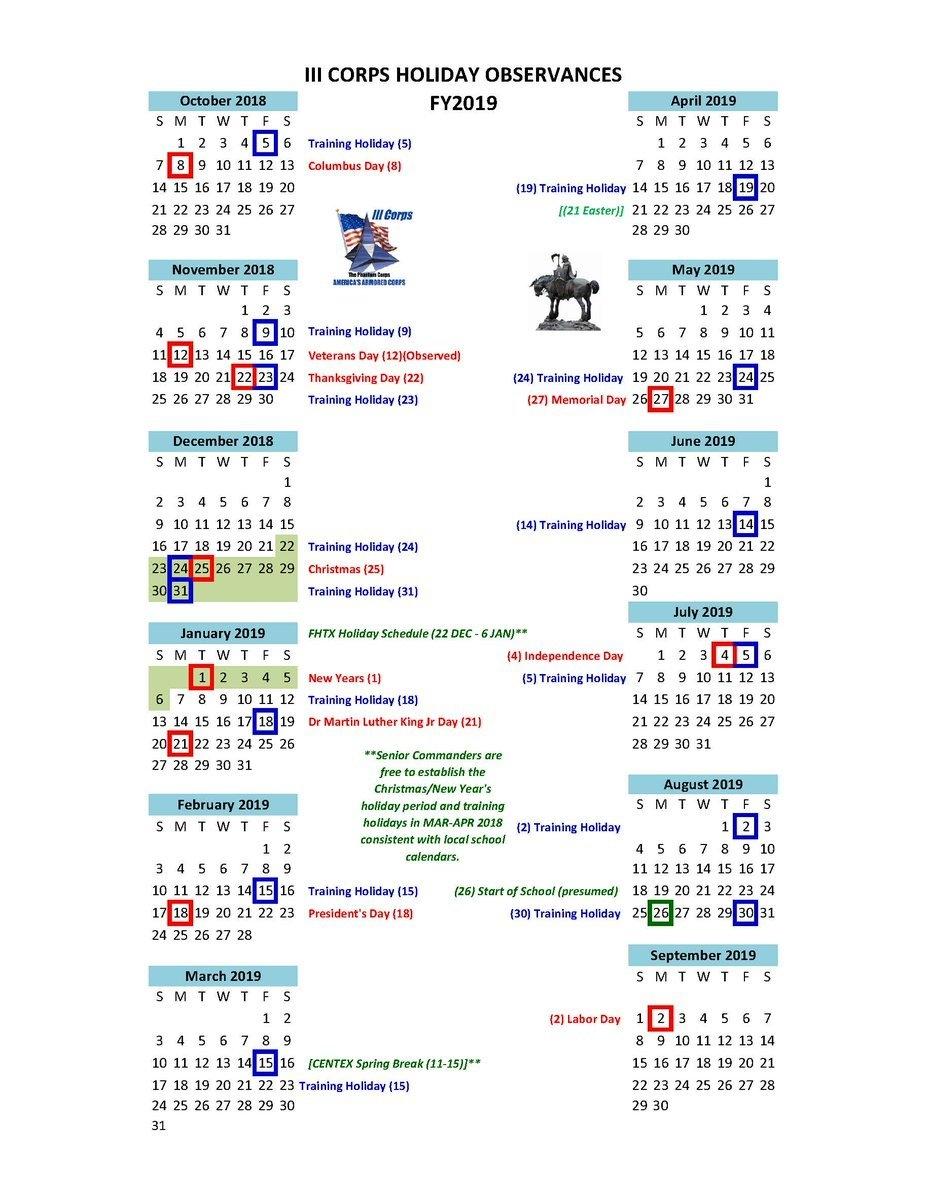 Template 1 Fiscal Year Calendar 2018 For Pdf Landscape Orientation 3 Corps Calendar 2019