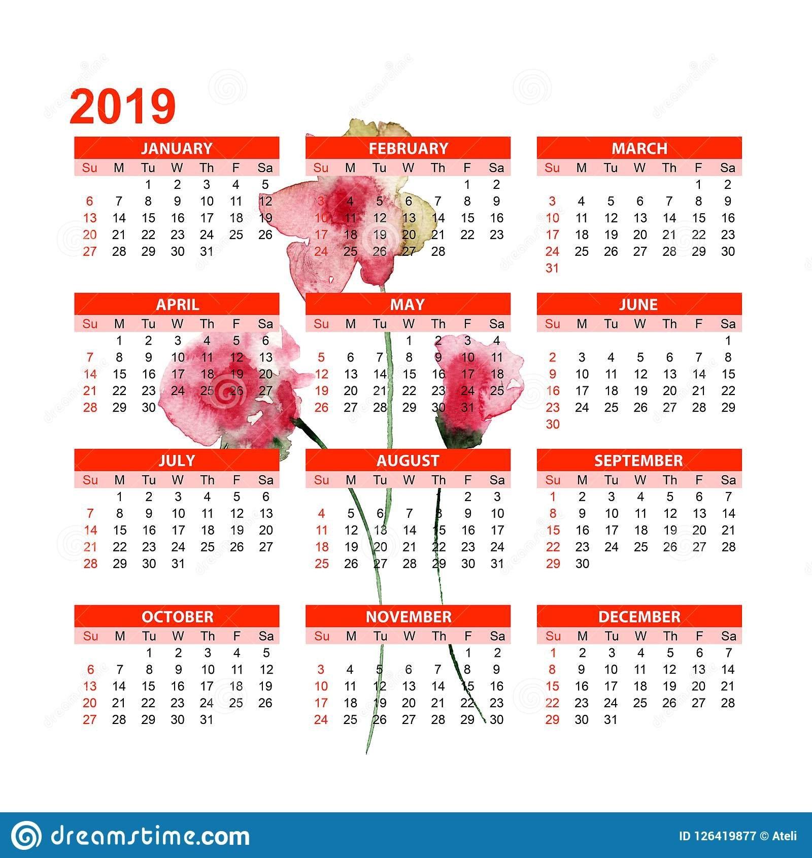Template For Calendar 2019 With Stylized Summer Flowers Stock Calendar 2019 Summer