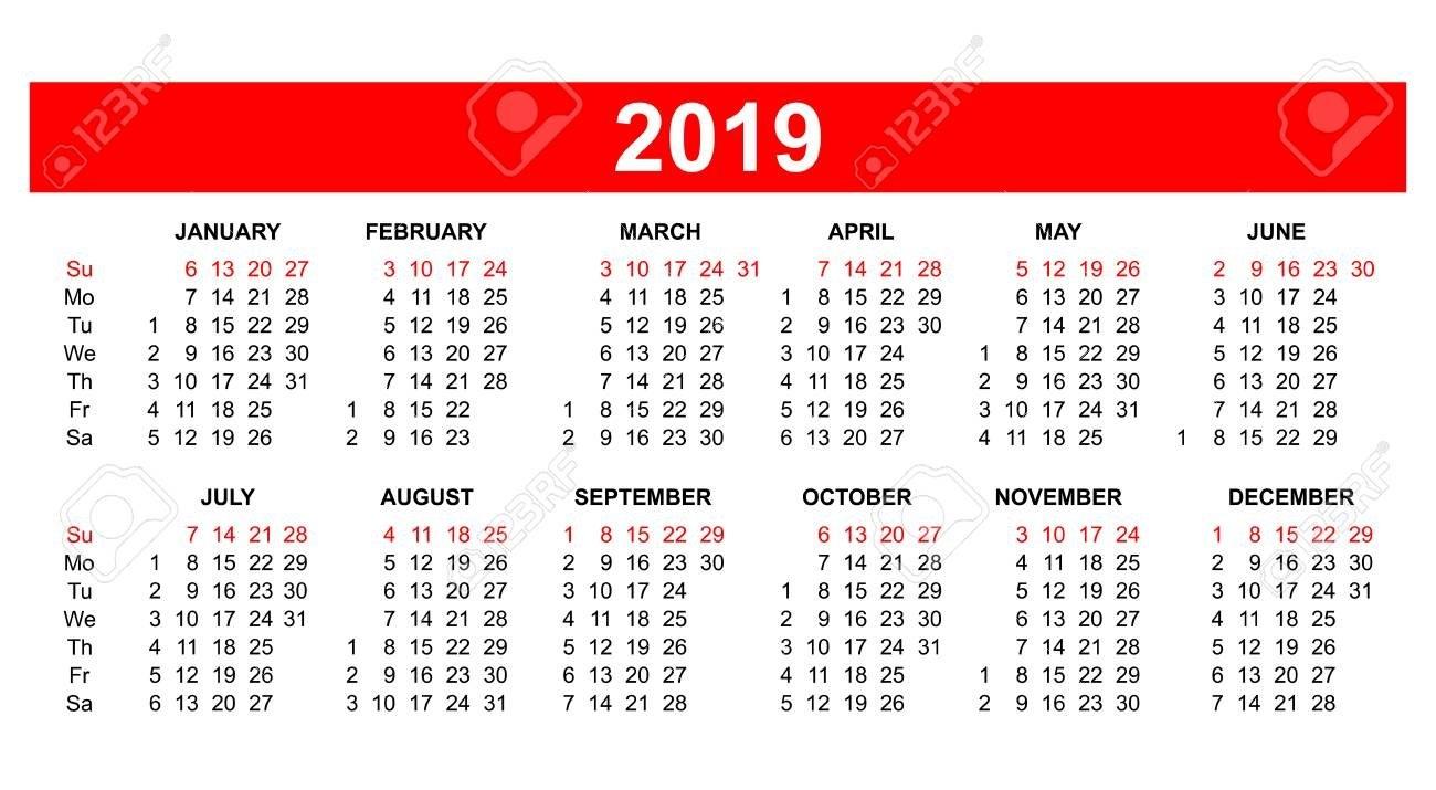 Template – Usa (American) Calendar Grid 2019 In Vector. Royalty Free Calendar 2019 America