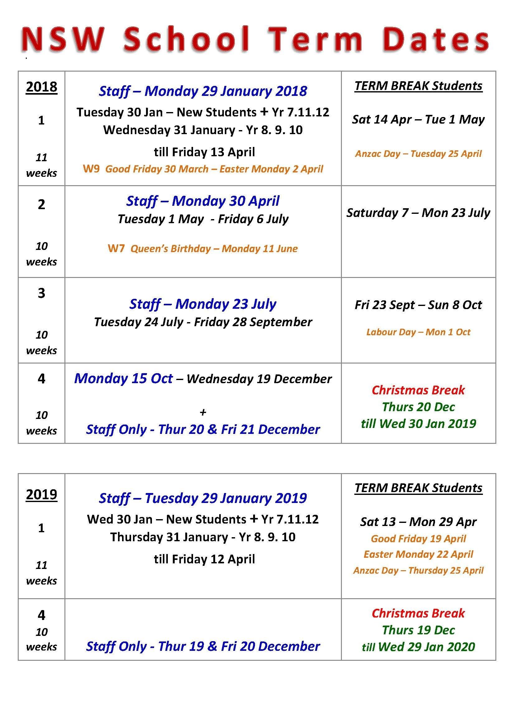 Term Dates   Chatswood High School 2019 Calendar Qld Education