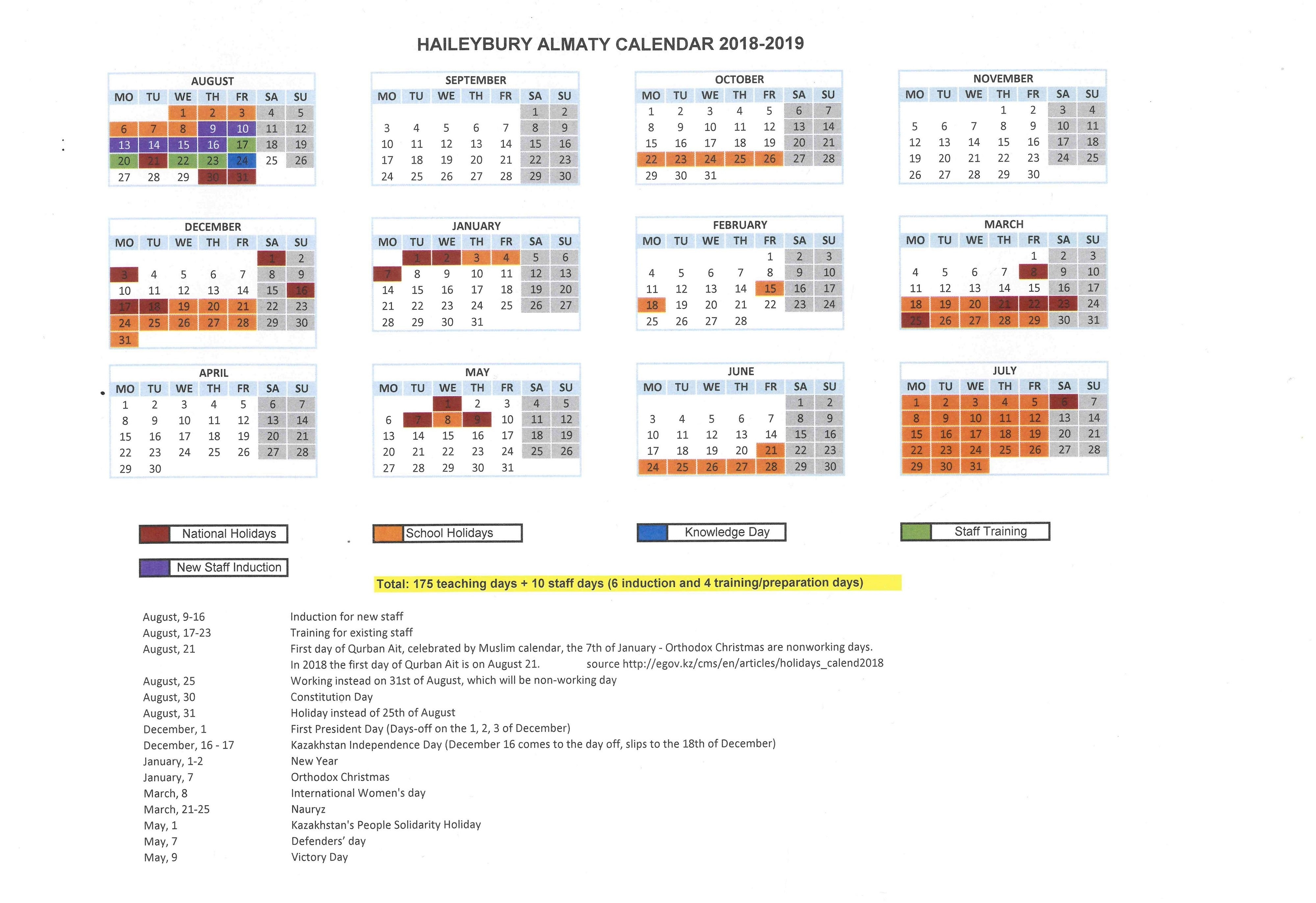 Term Dates — Haileybury Kazakhstan Calendar 2019 Kazakhstan