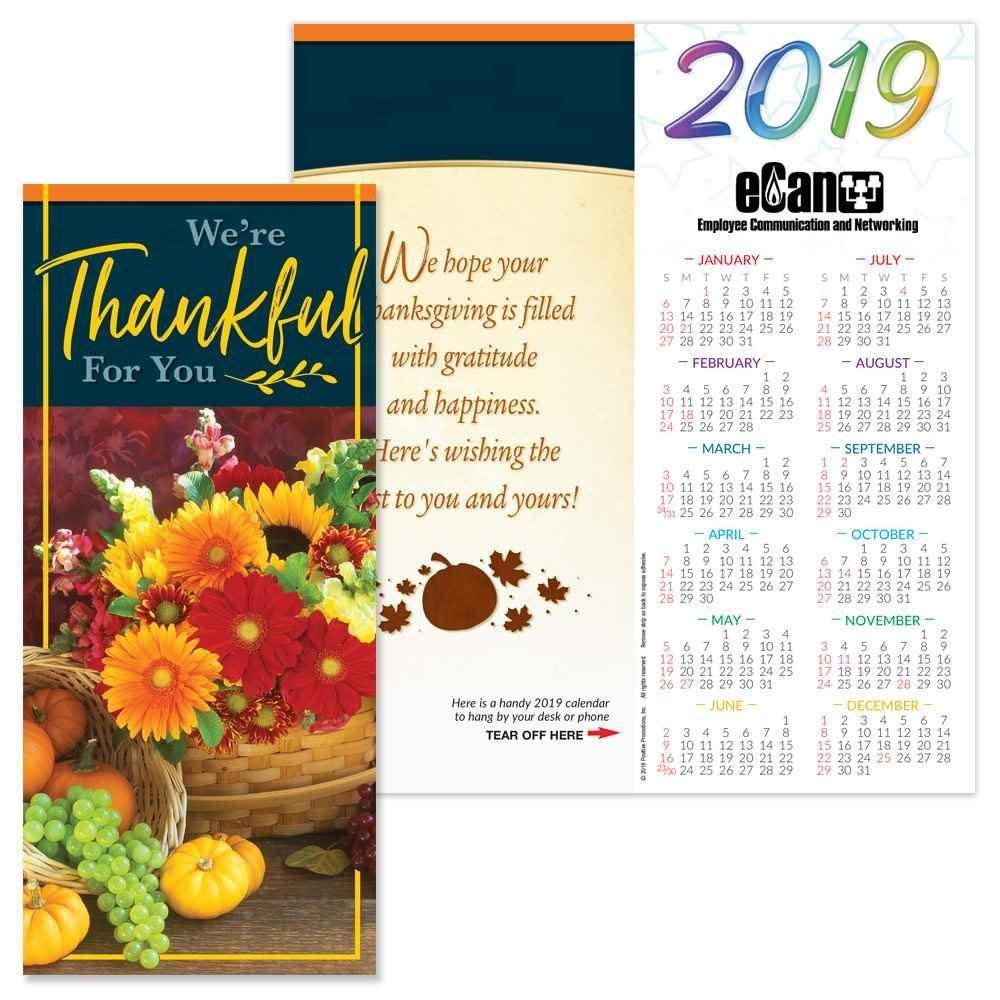 Thanksgiving 2019 Holiday Greeting Card Calendar | Positive Promotions Calendar 2019 Thanksgiving