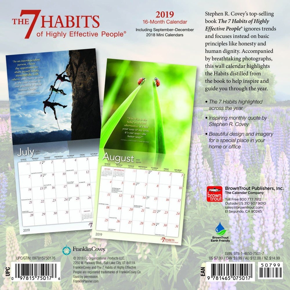 The 7 Habits Of Highly Effective People 2019 7 X 7 Inch Monthly Mini 7 Habits Calendar 2019