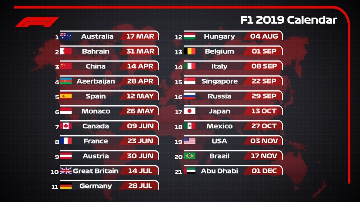 The Fia Has Announced That The World Motor Sport Council Has Formula 1 Calendar 2019