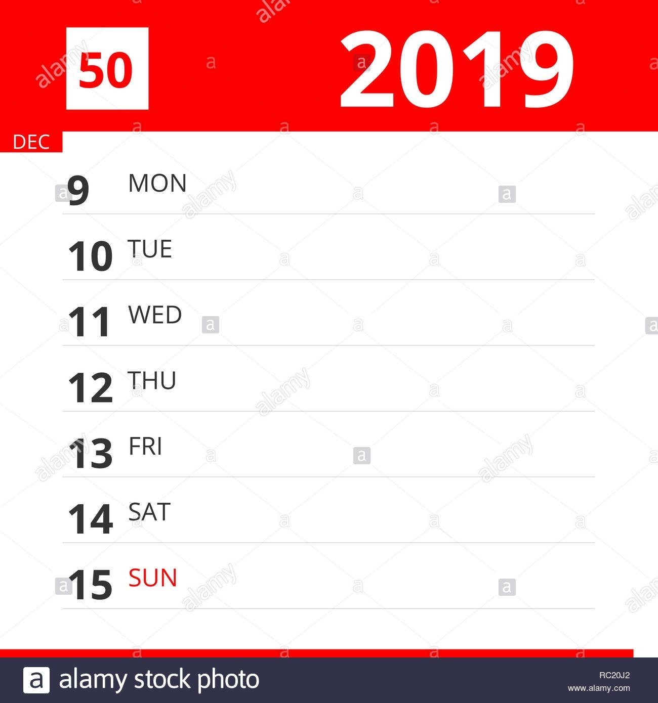 The Reminder Stock Photos & The Reminder Stock Images – Page 52 – Alamy Calendar Week 50 2019