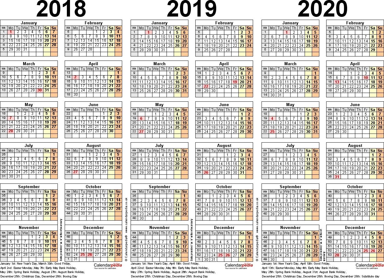 Three Year Calendars For 2018, 2019 & 2020 (Uk) For Pdf 4 5 4 Calendar 2019