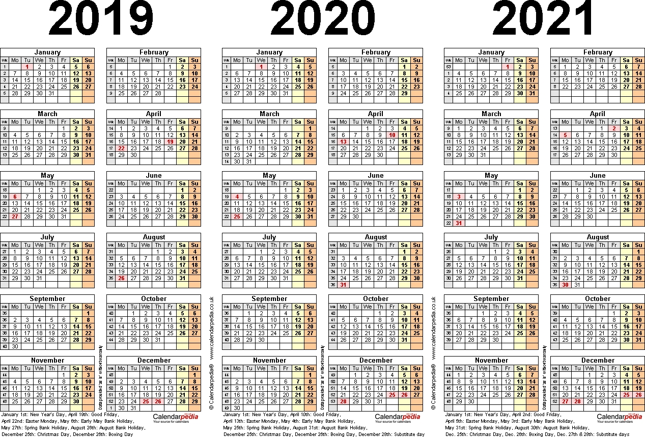 Three Year Calendars For 2019, 2020 & 2021 (Uk) For Pdf 3 Year Calendar 2019 To 2021 Printable