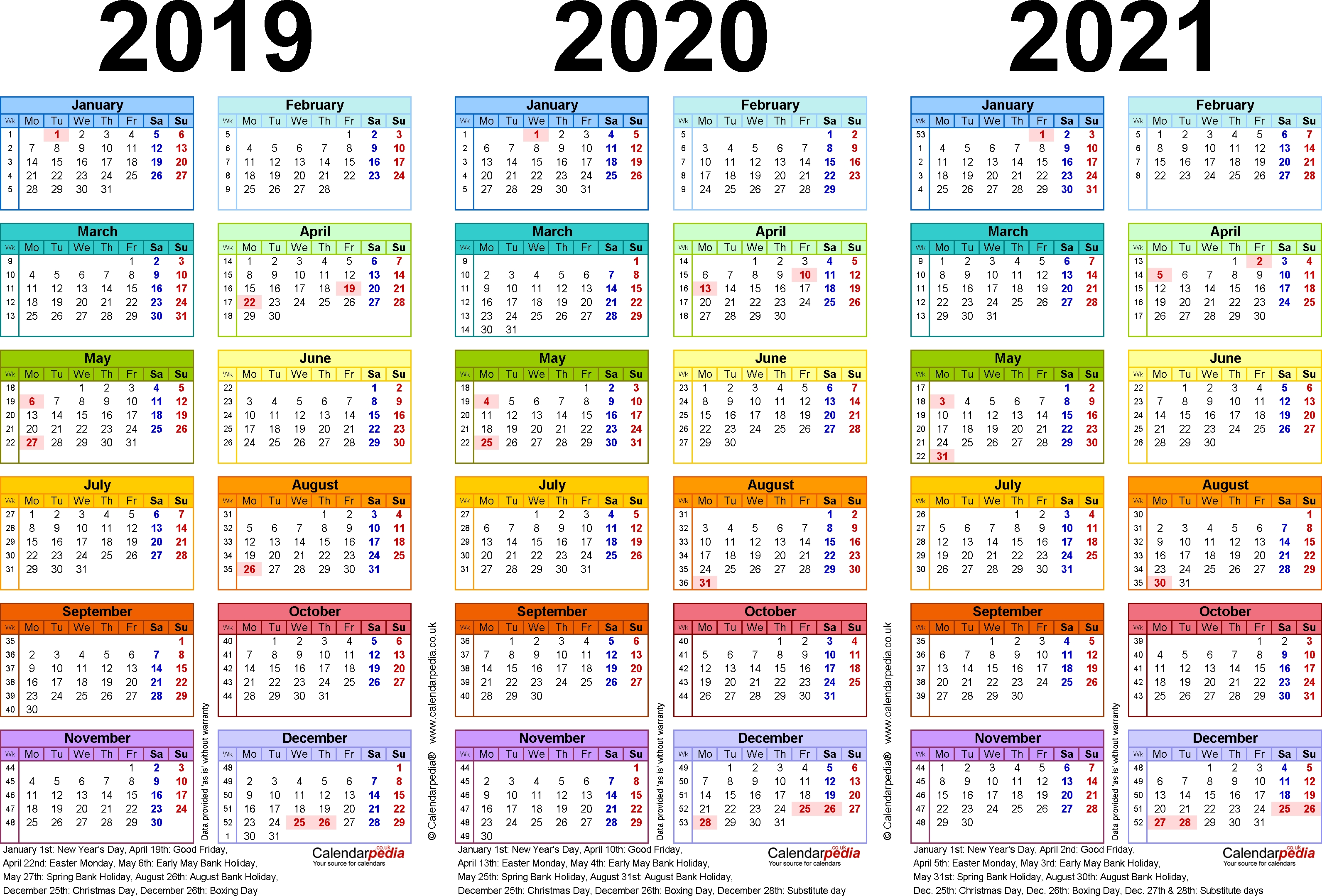 Three Year Calendars For 2019, 2020 & 2021 (Uk) For Pdf Page 3 Calendar 2019