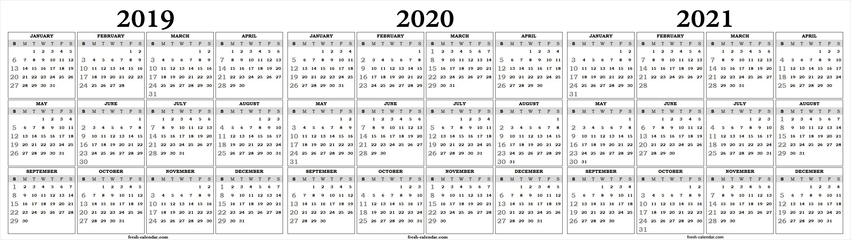 Three Yearly 2019 2020 2021 Calendar Printable Free   Blank Template 3 Year Calendar 2019 To 2021 Printable