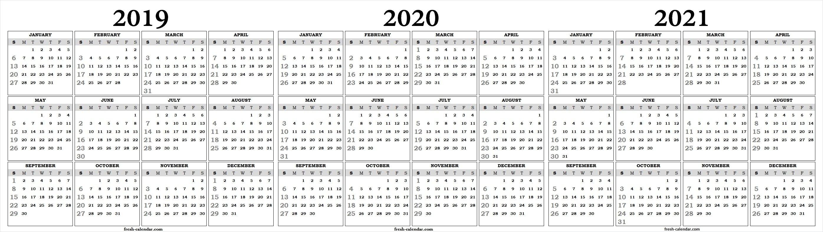 Three Yearly 2019 2020 2021 Calendar Printable Free | Blank Template 3 Year Calendar 2019 To 2021
