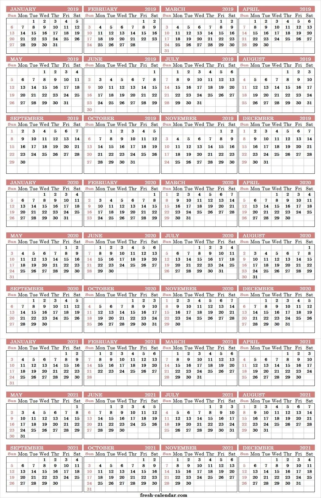 Three Yearly Calendar 2019 2020 2021 Printable Free   Blank Template 3 Year Calendar 2019 To 2021 Printable