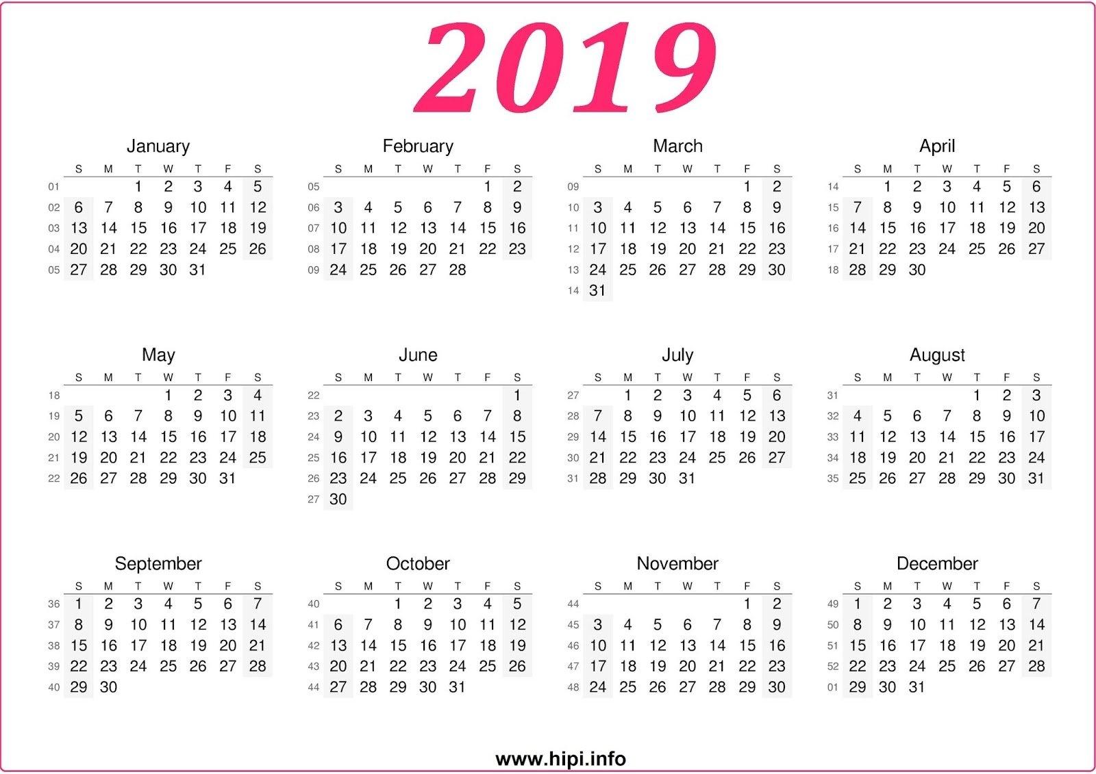 Twitter Headers / Facebook Covers / Wallpapers / Calendars: 2019 Calendar 2019 Free Download