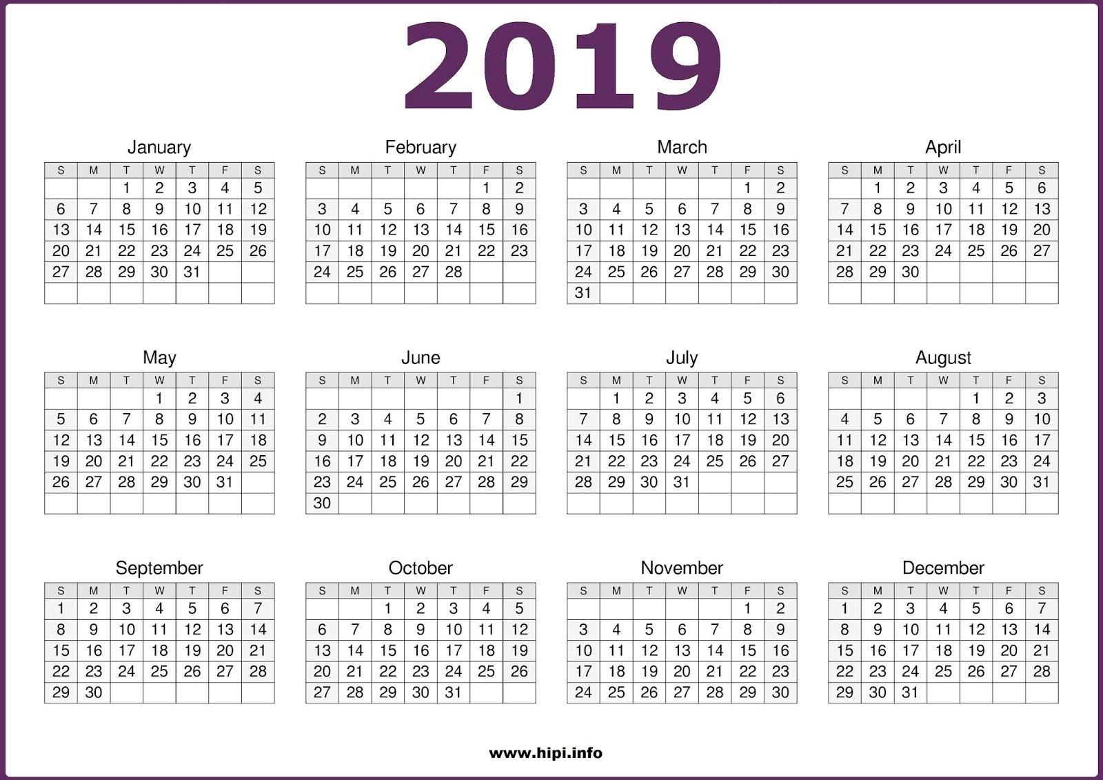 Twitter Headers / Facebook Covers / Wallpapers / Calendars: 2019 Calendar 2019 Single Page