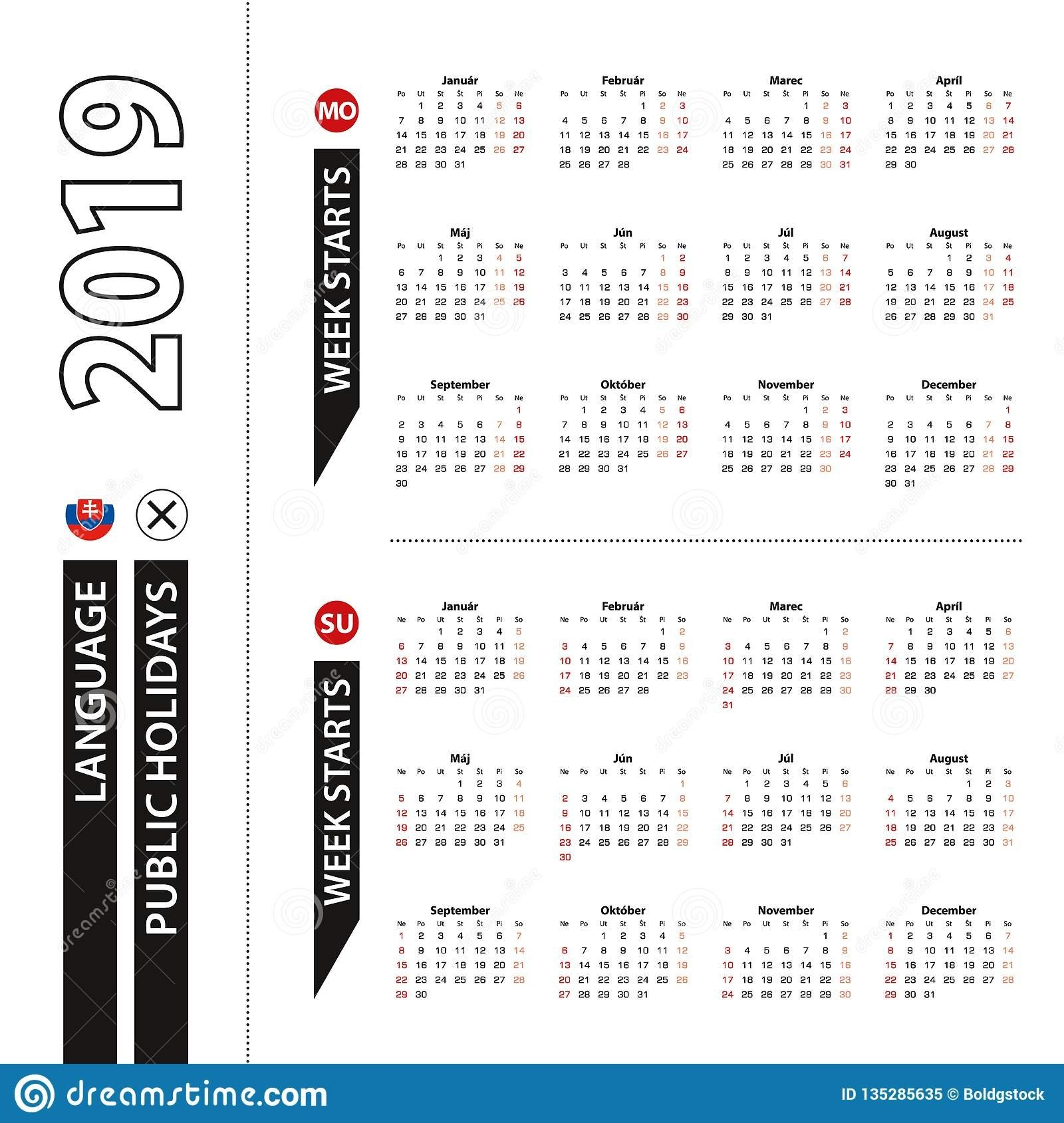 Two Versions Of 2019 Calendar In Slovak, Week Starts From Monday And Calendar 2019 Ut