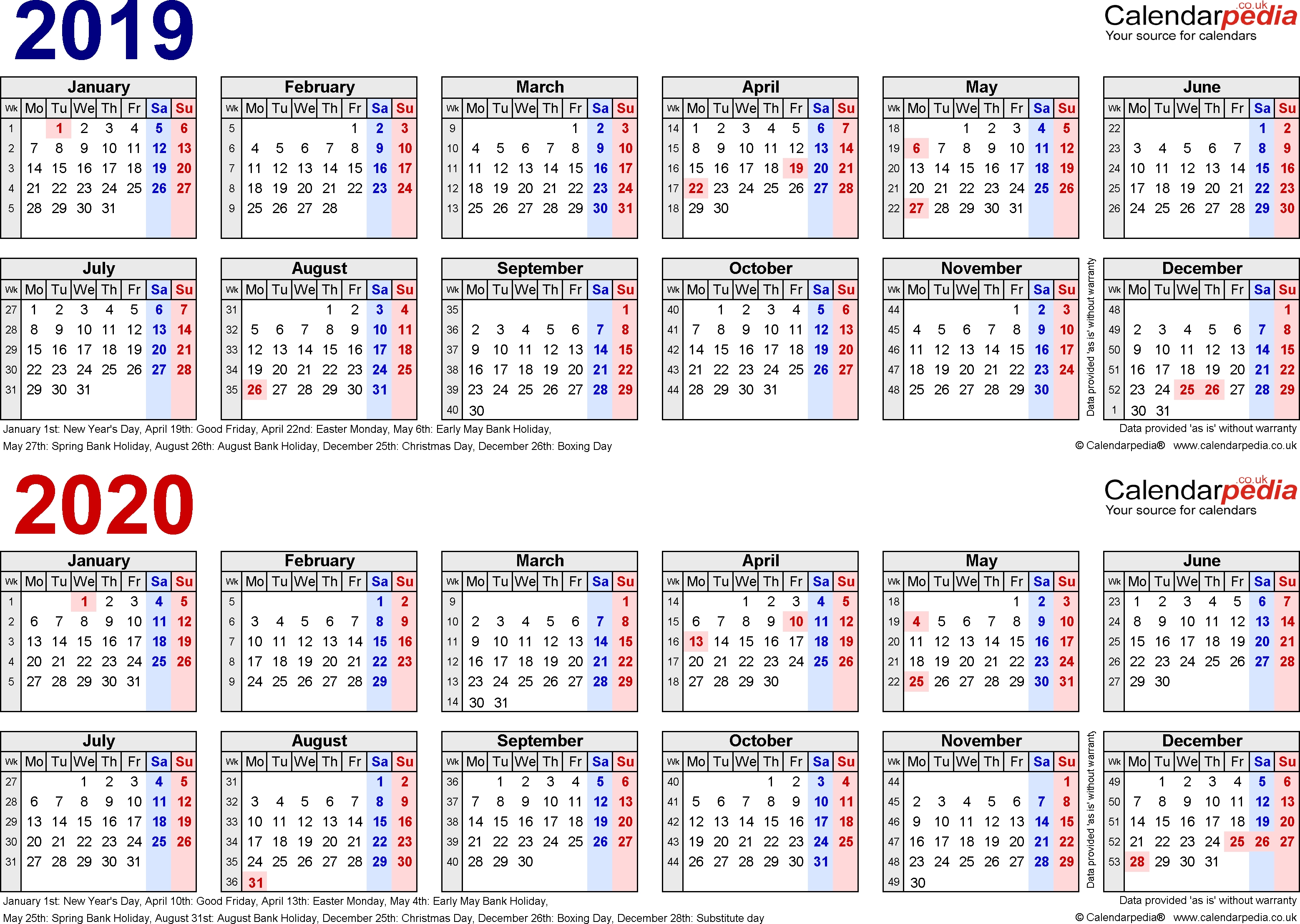 Two Year Calendars For 2019 & 2020 (Uk) For Pdf 2019 Calendar 2020 Printable