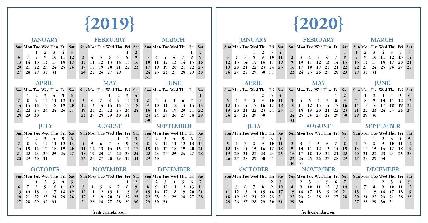 Two Yearly 2019 2020 Calendar Printable | Blank Calendar Template 2019 Calendar 2020 Printable