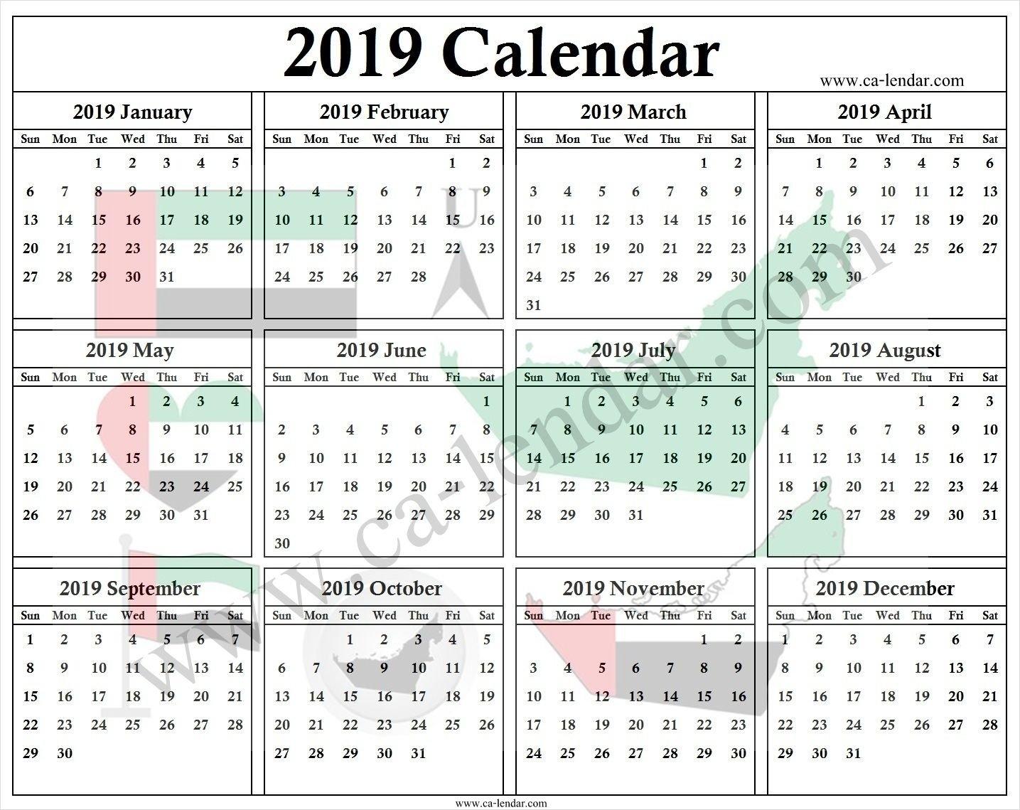 Uae Calendar 2019 With Holidays | 2019 Calendar Template | Pinterest U A E Calendar 2019