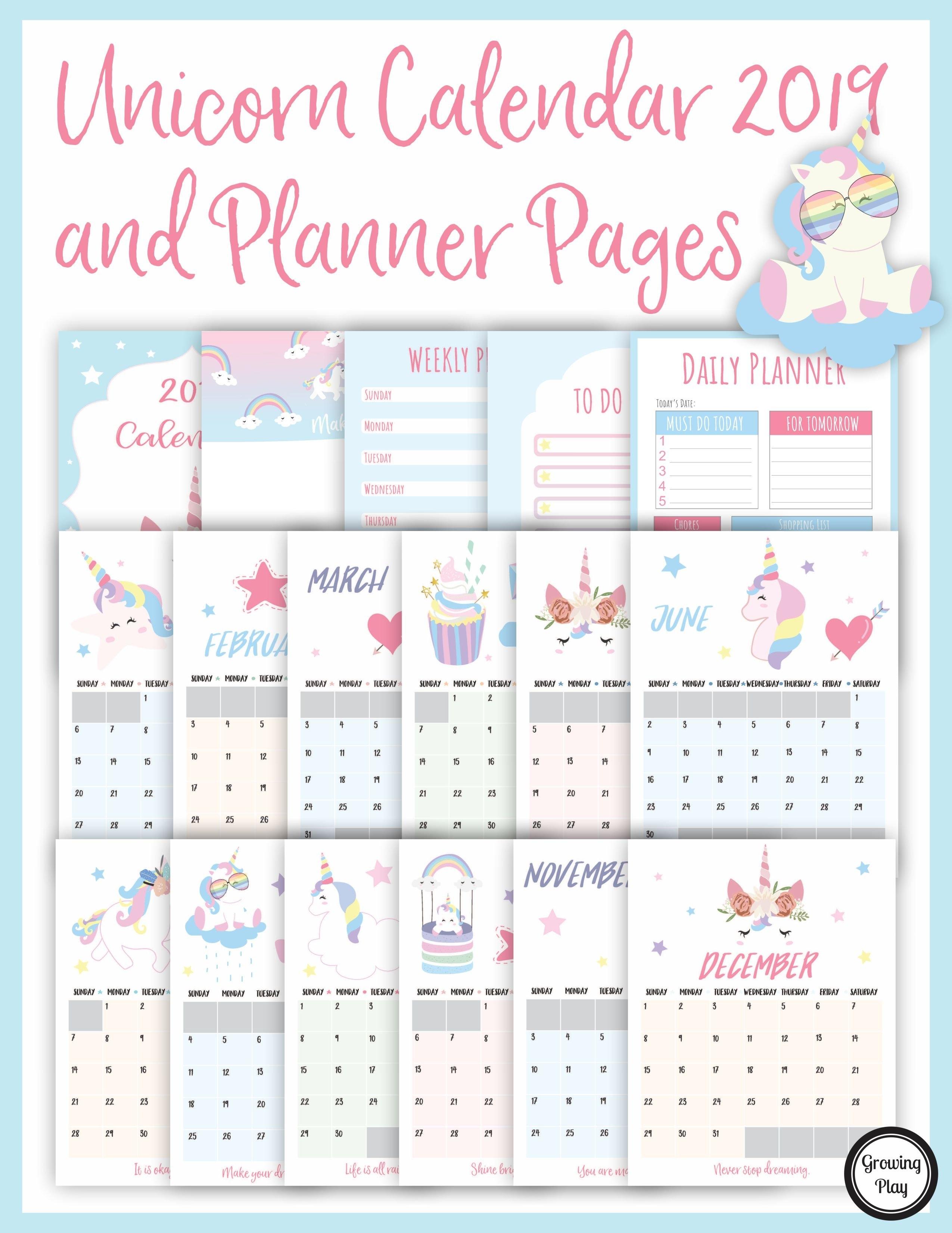 Unicorn Calendar 2019 And Unicorn Planner Pages - Growing Play Calendar 2019 Unicorn
